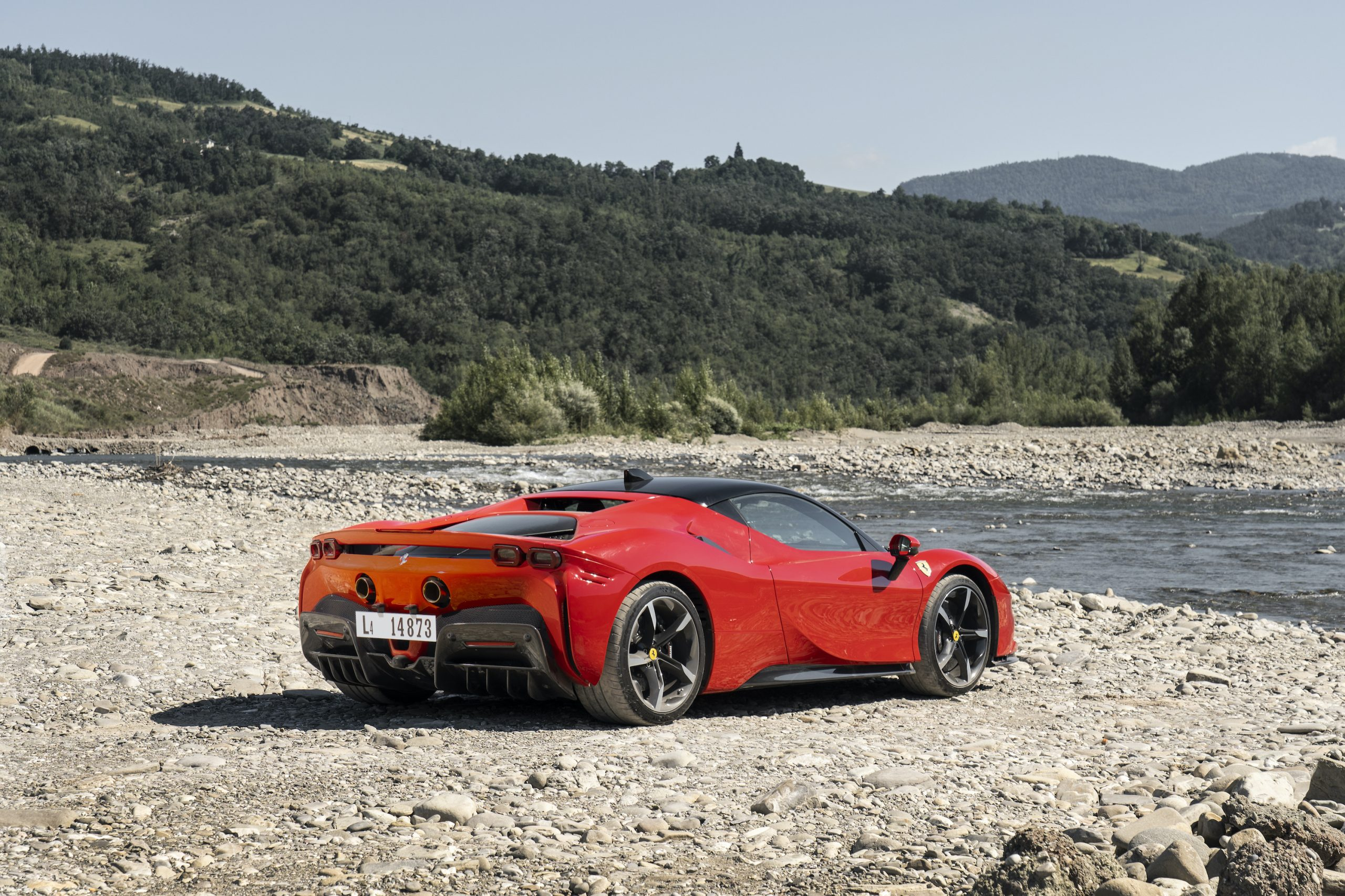 SF90 Stradale riverbed rear three-quarter