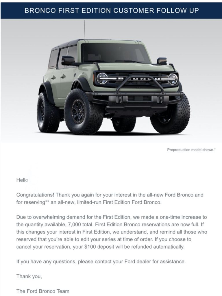 2021 Bronco First Edition reservation email