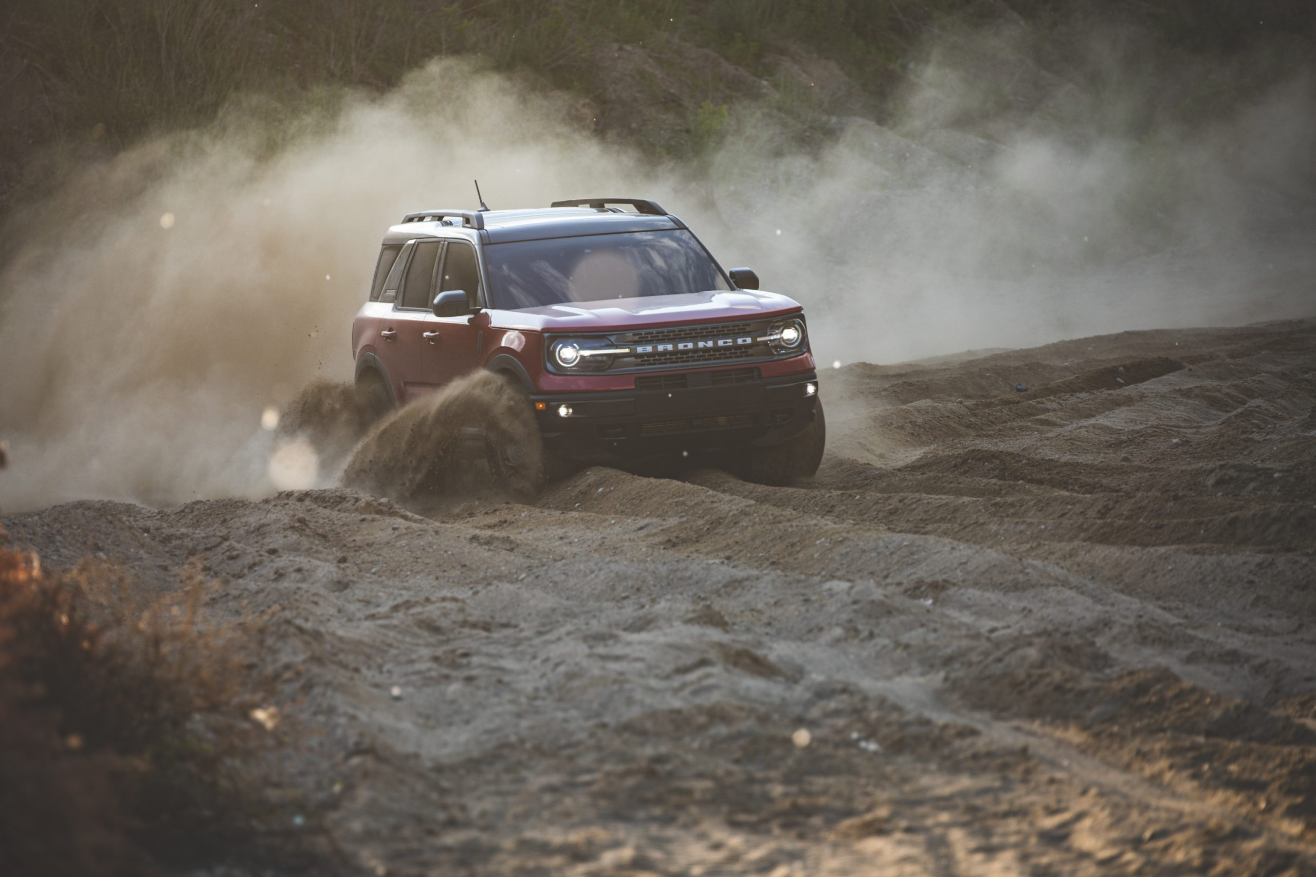 2021 Ford Bronco Sport Sand Dune Front Three-Quarter Action