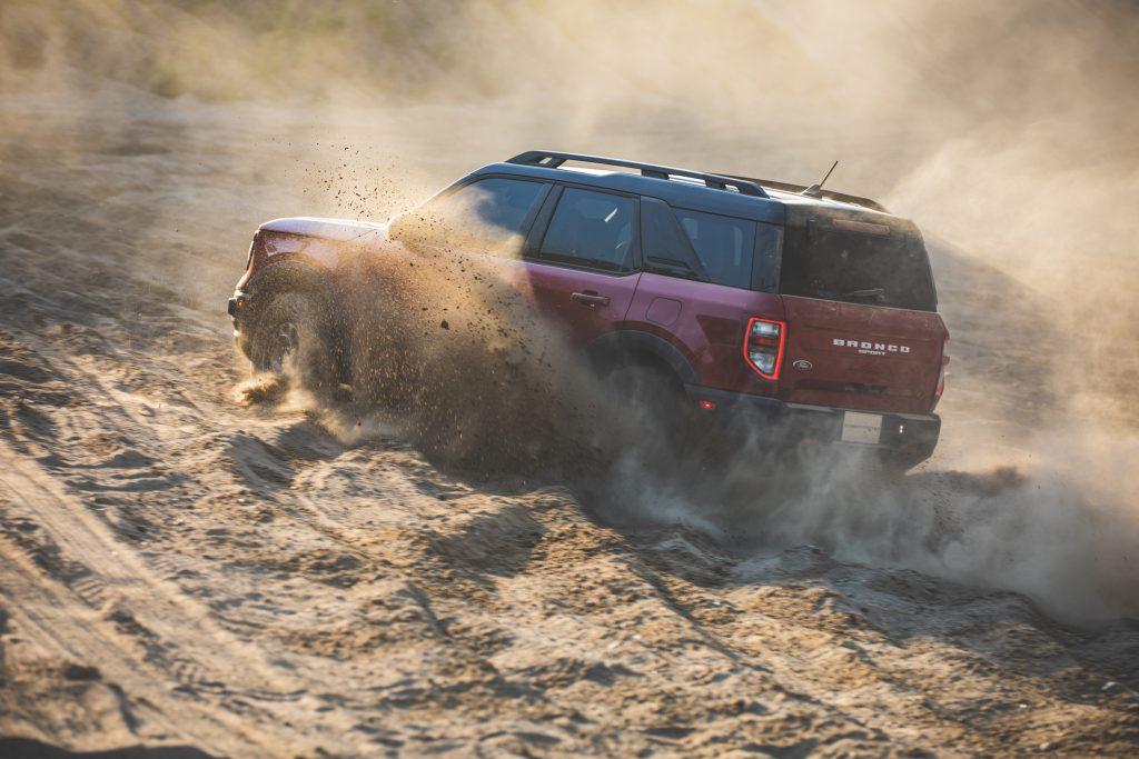 2021 Ford Bronco Sport Sand Dune Rear Three-Quarter Action