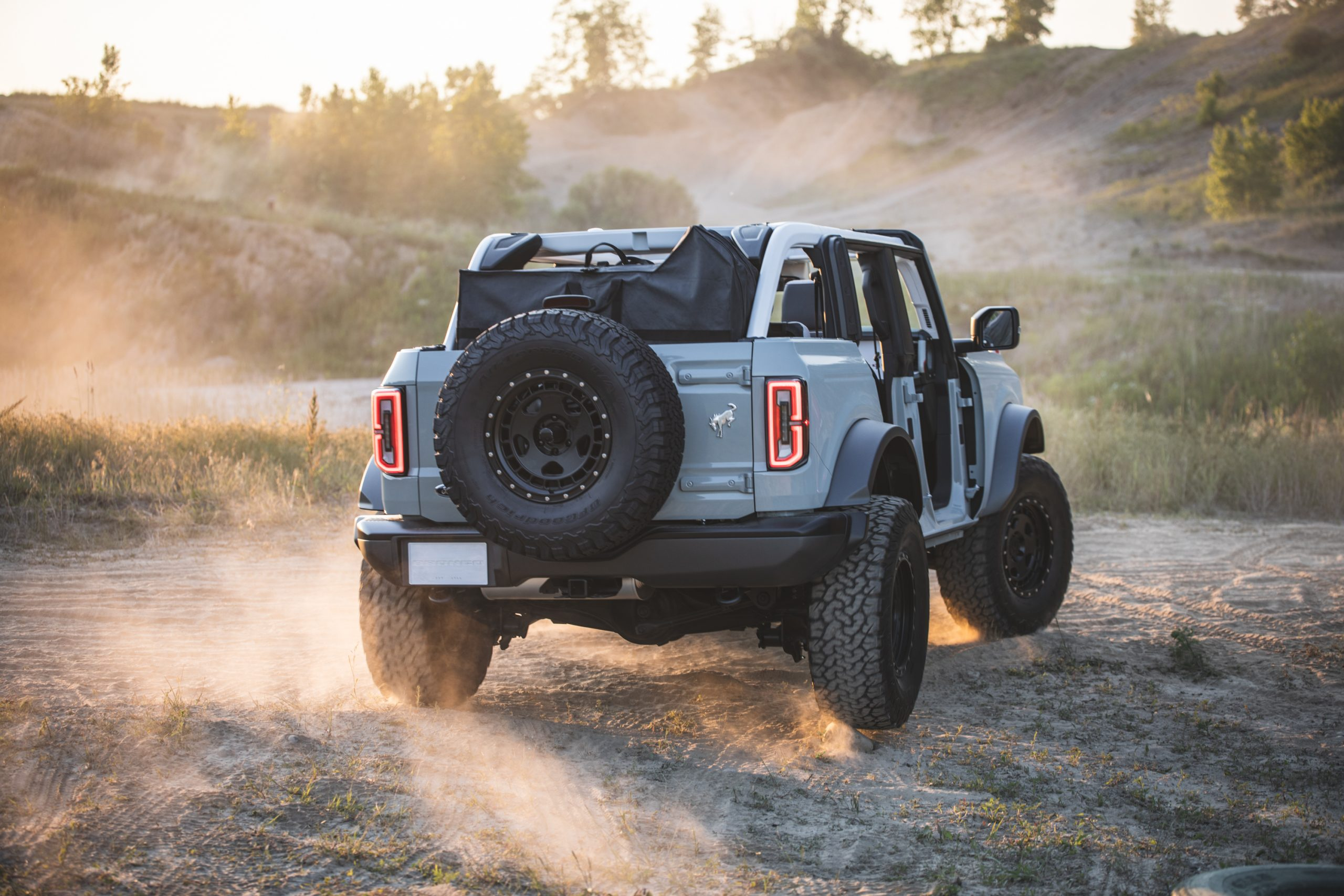 2021 Ford Bronco Four Door Rear Three-Quarter Action