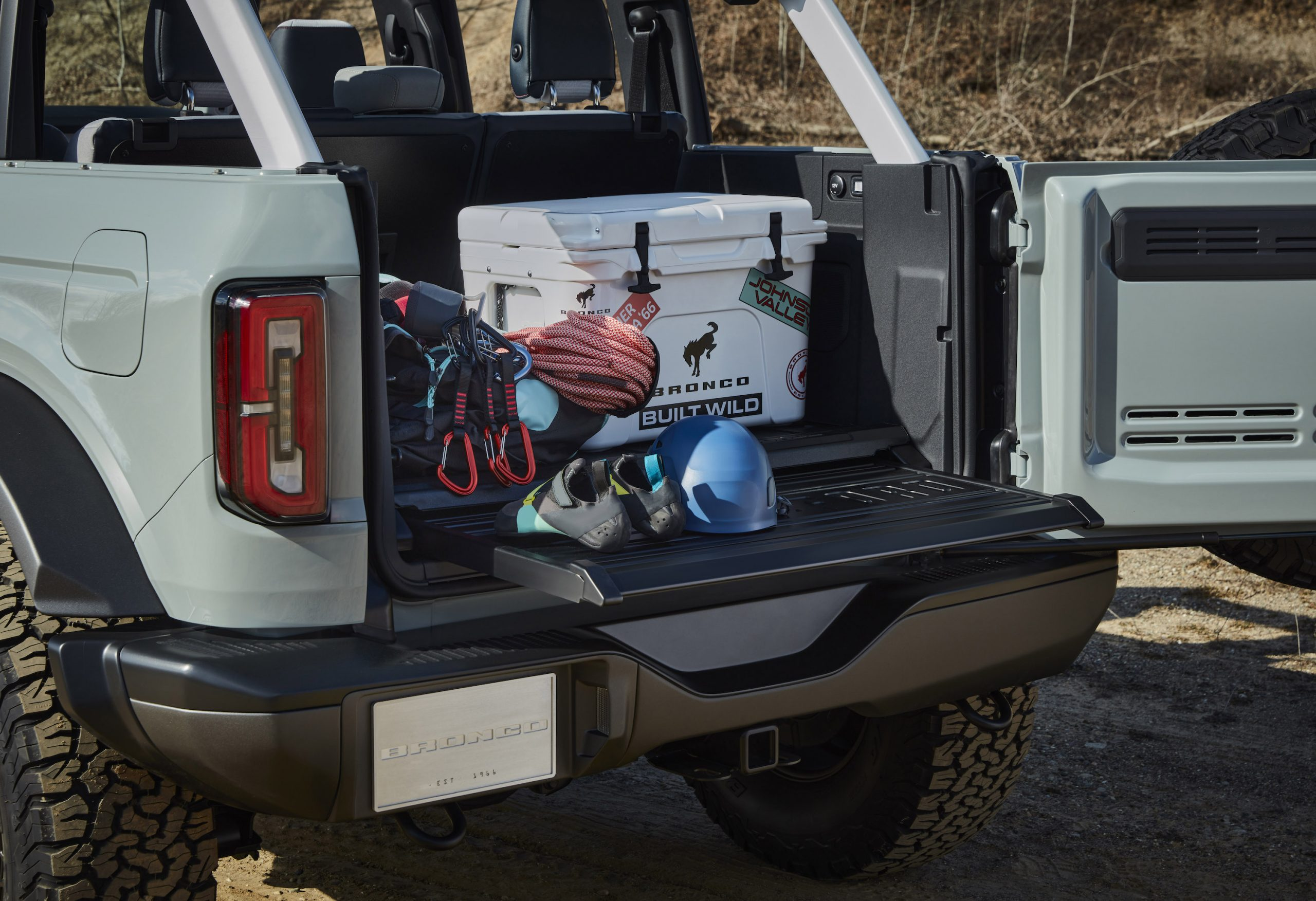 2021 Ford Bronco Four Door Open Tailgate Trunk Gear