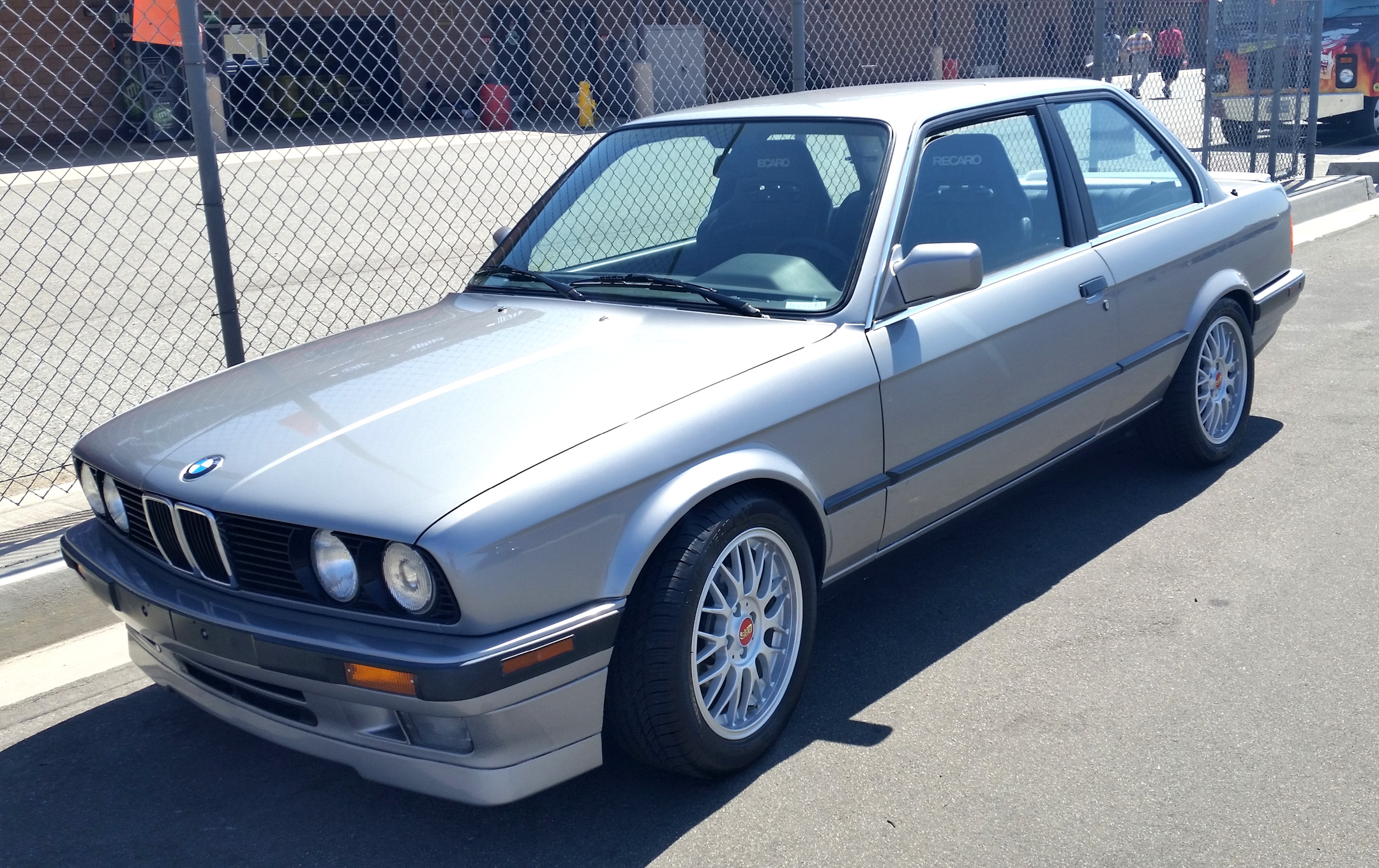 silver retro bmw front three-quarter with bbs wheels