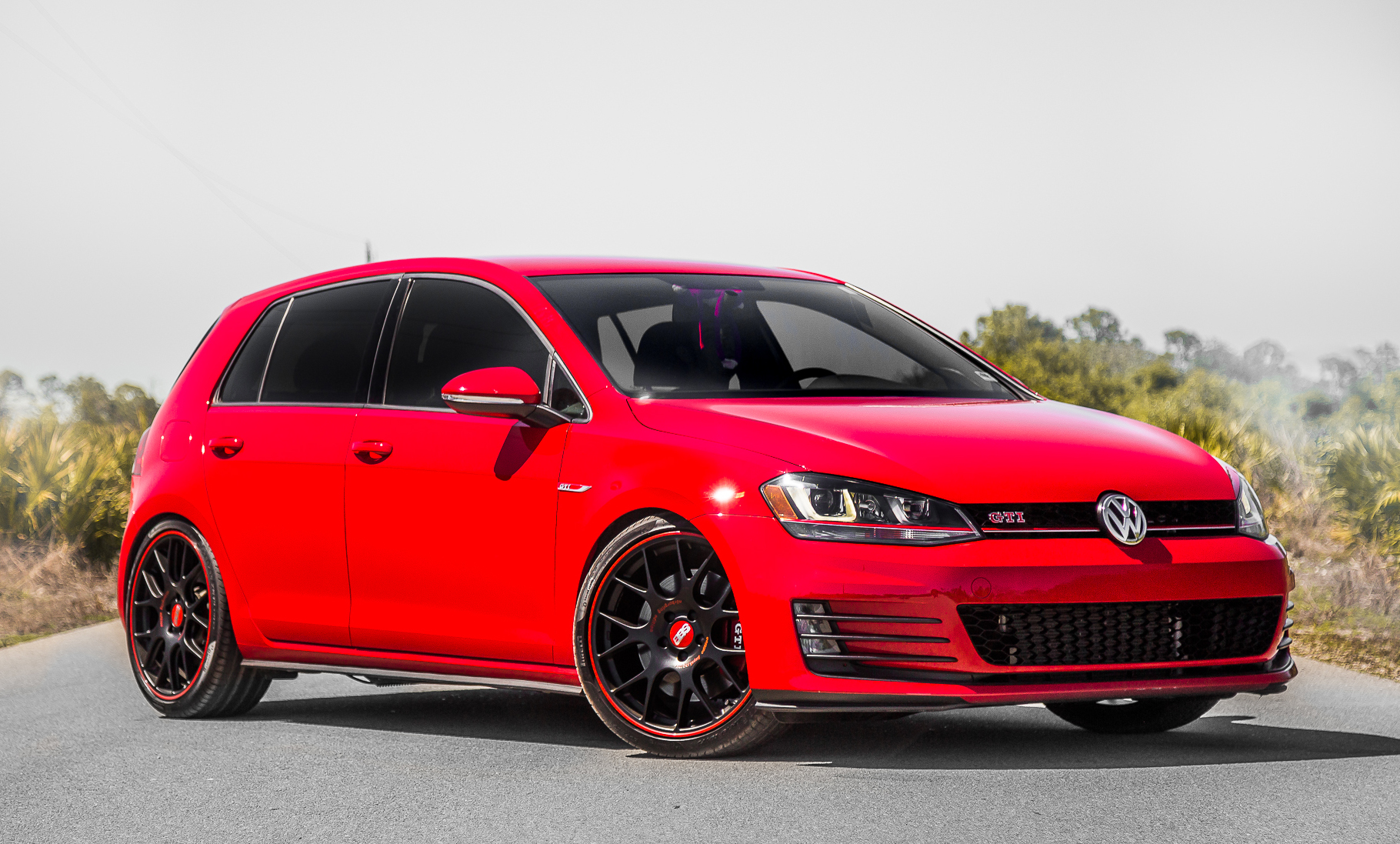 bbs wheels on vw gti front three-quarter