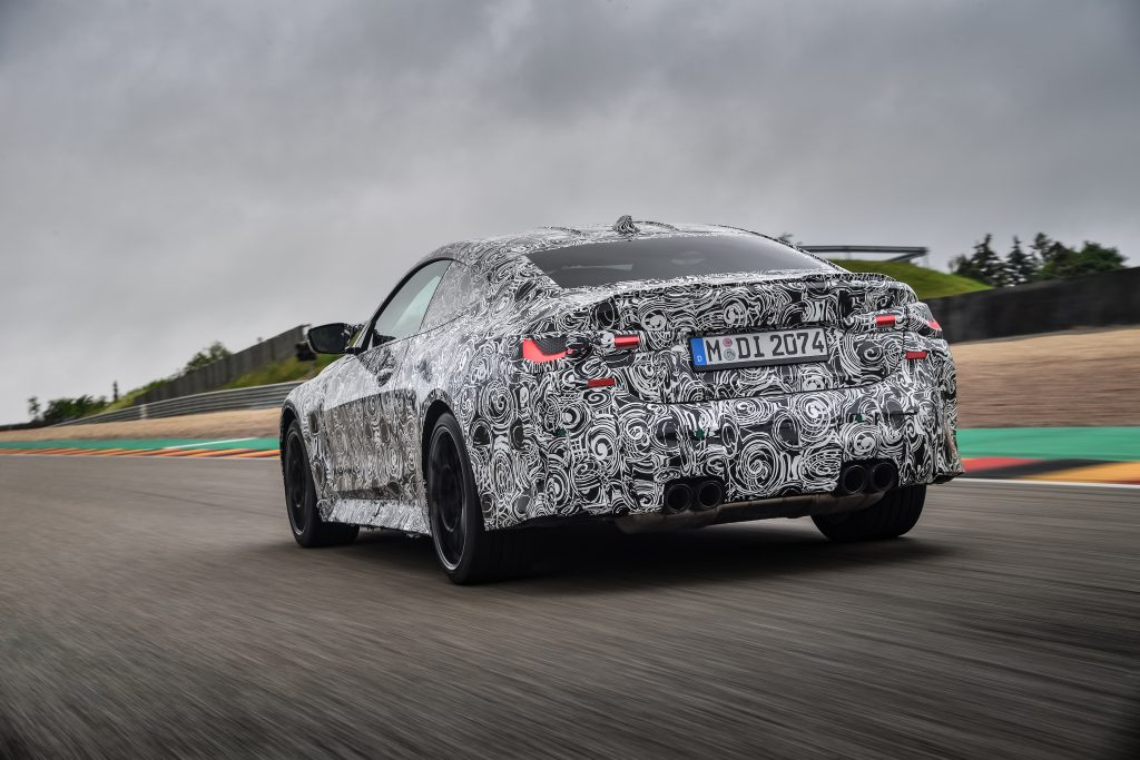 BMW M4 Coupe Rear Three-Quarter Track Action
