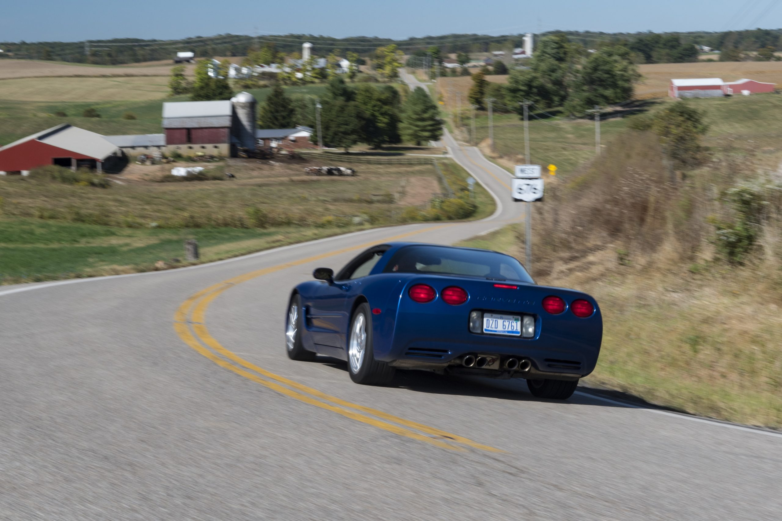 C5 Corvette Rear Three-Quarter Country Road Action