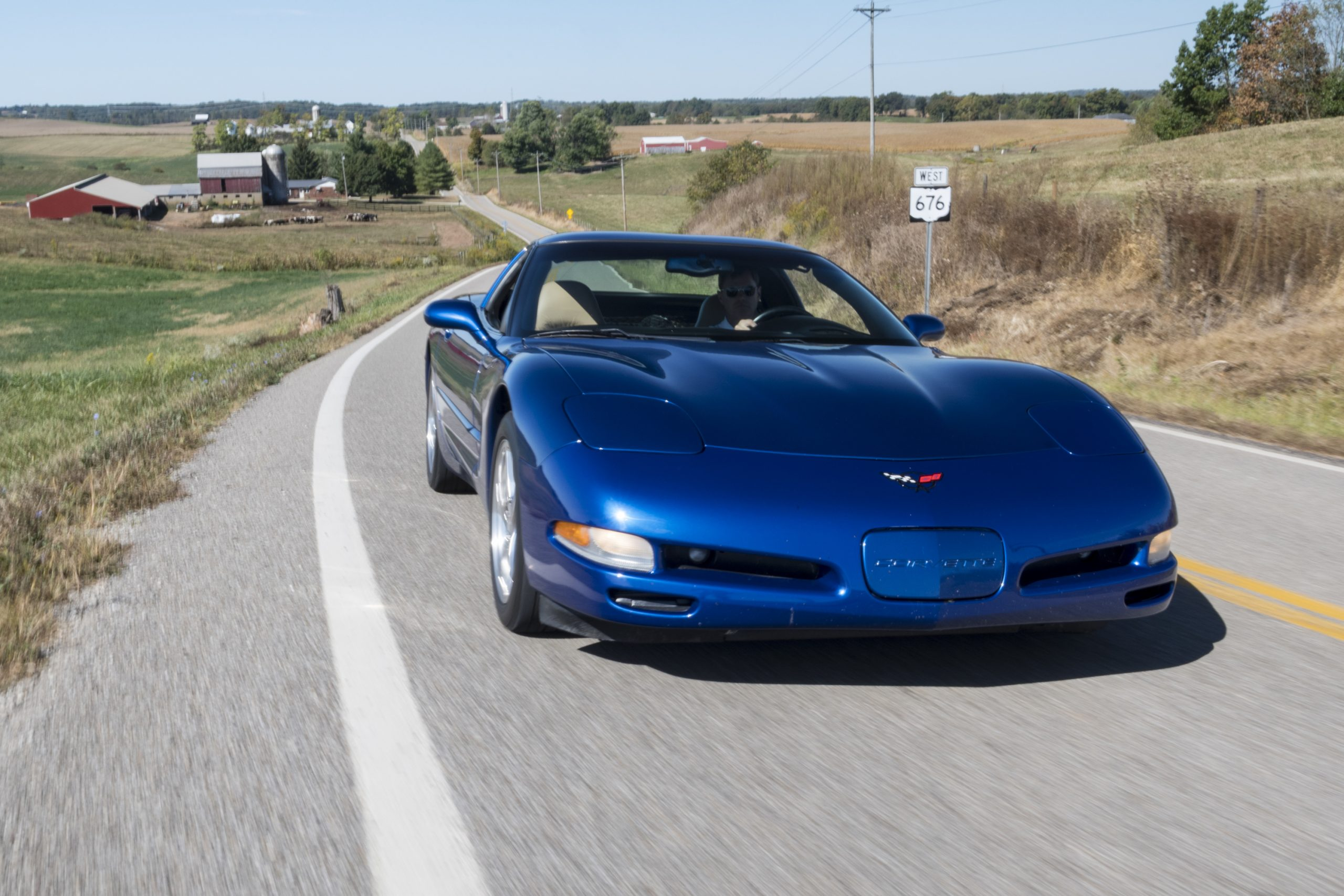 C5 Corvette Front Country Road Action