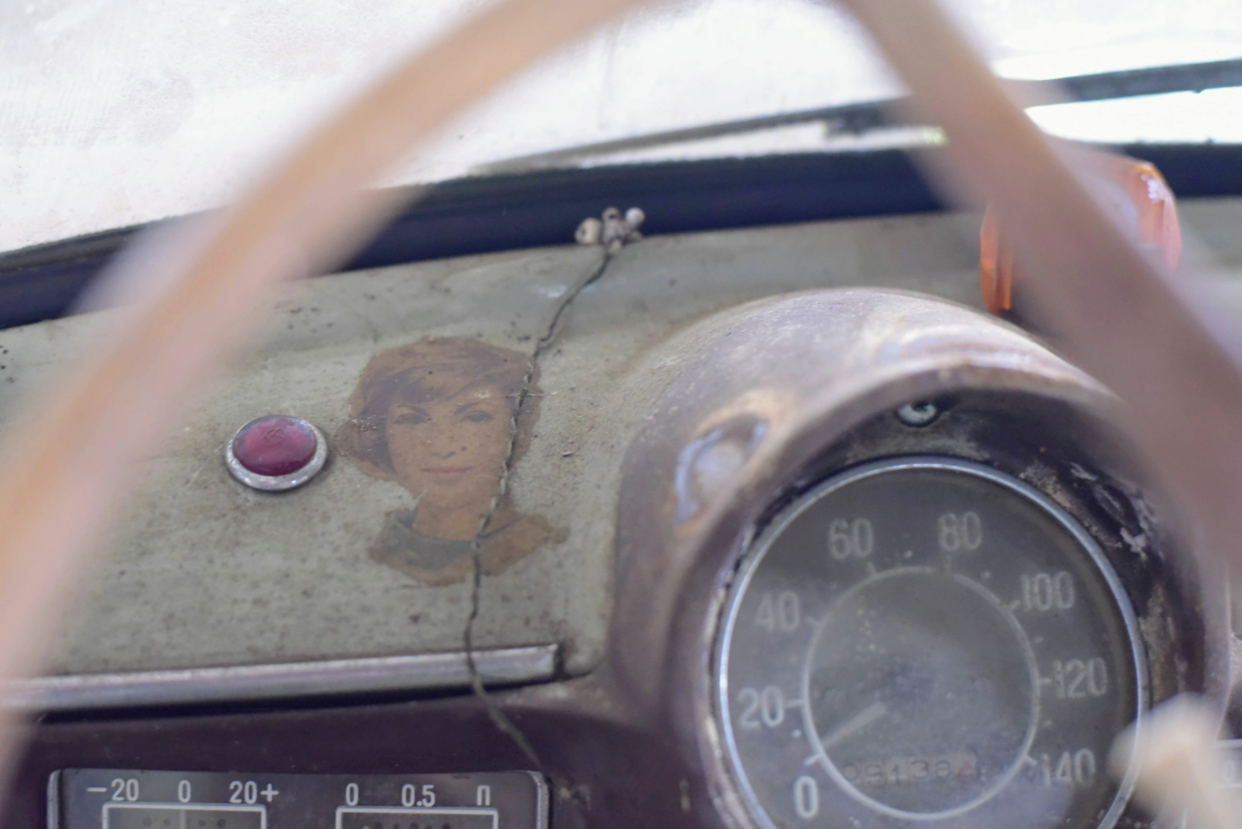 1960 Moskvich 407 interior dash woman face detail