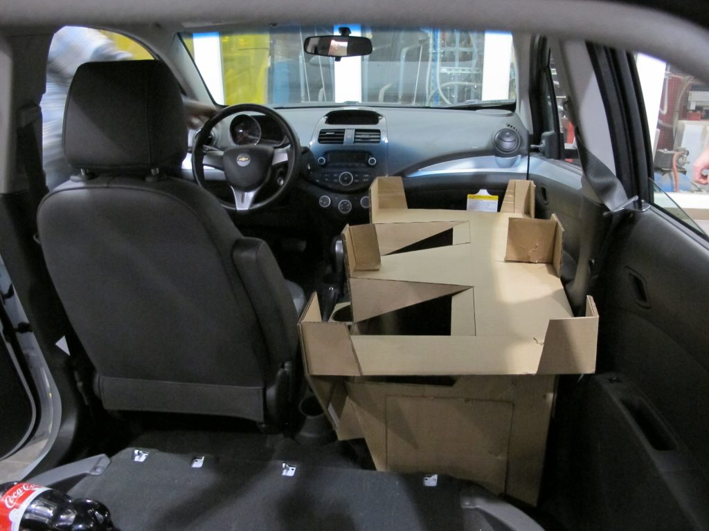 Domino's DXP cardboard interior mock-up from trunk