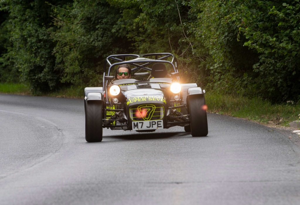 Caterham 7 JPE driving front road headlights
