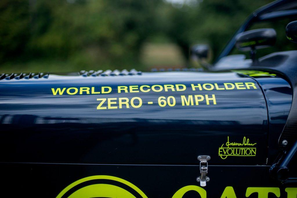 Caterham 7 JPE hood world record holder 0-60 decal