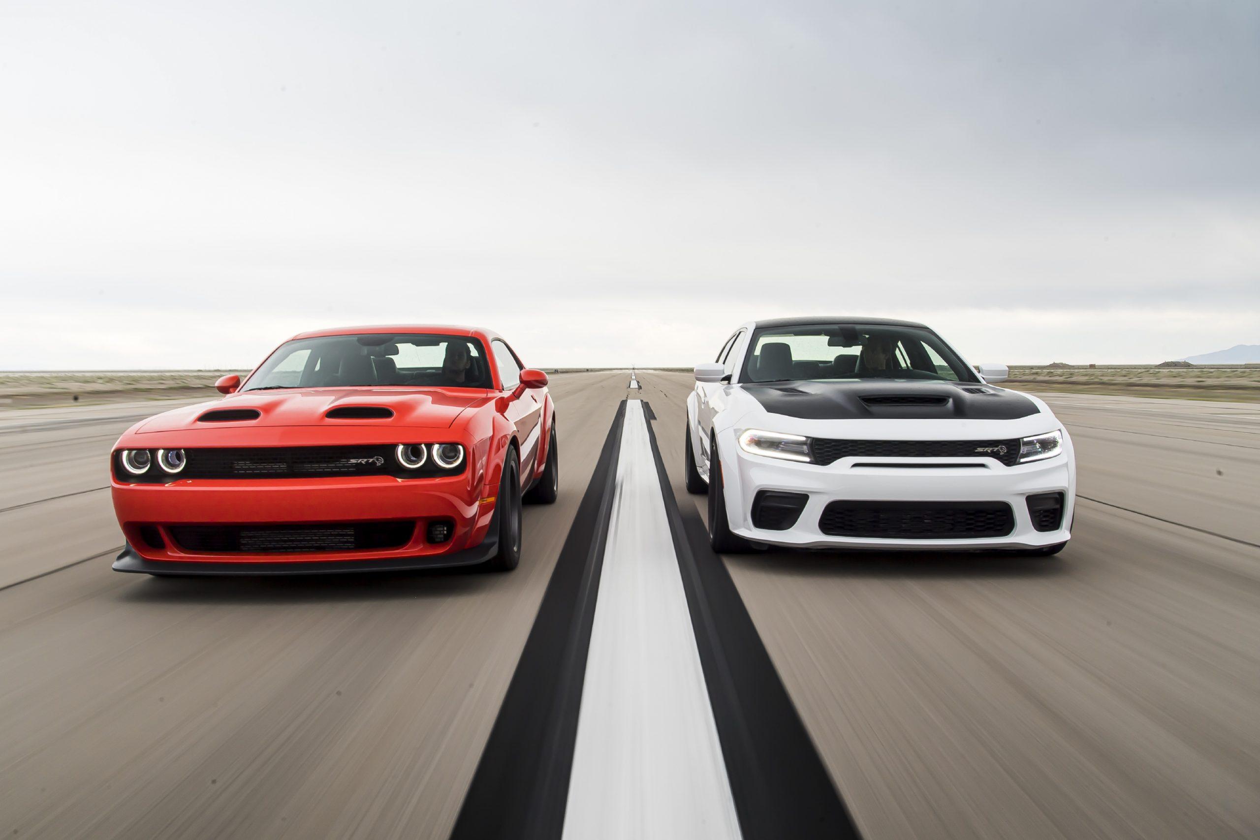 2020 Dodge Challenger SRT Super Stock (left) and 2021 Dodge Char