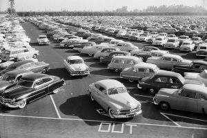 isneyland Autopia - Parking lot on July 17, 1955