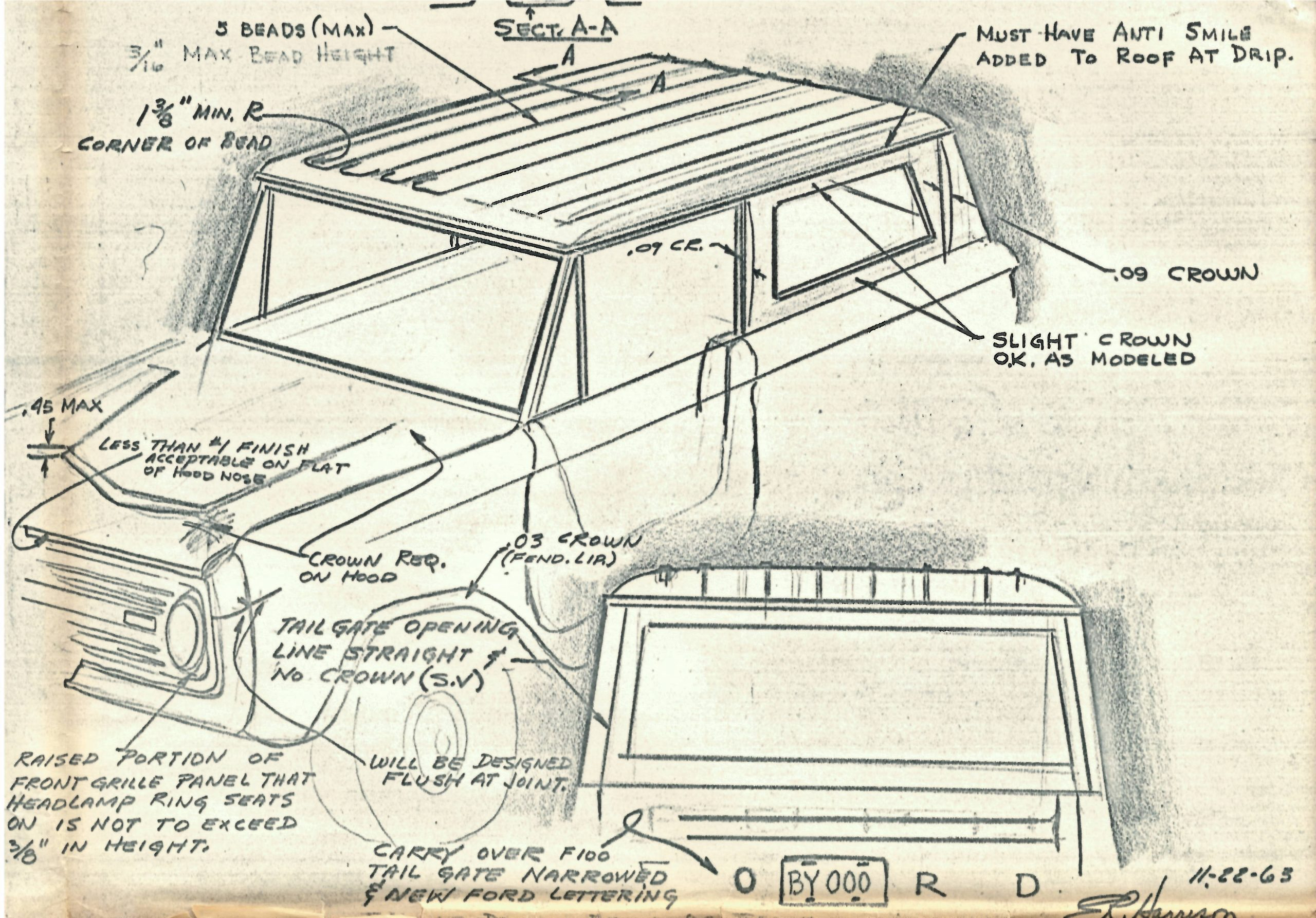Original Vintage Bronco Design Sketch