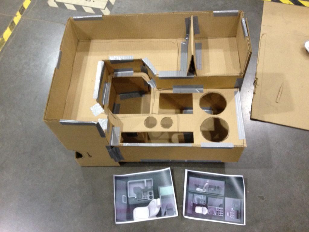 Domino's DXP early cardboard interior mockup