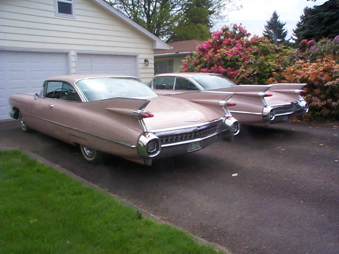matching old vintage cadillac rear three-quarter