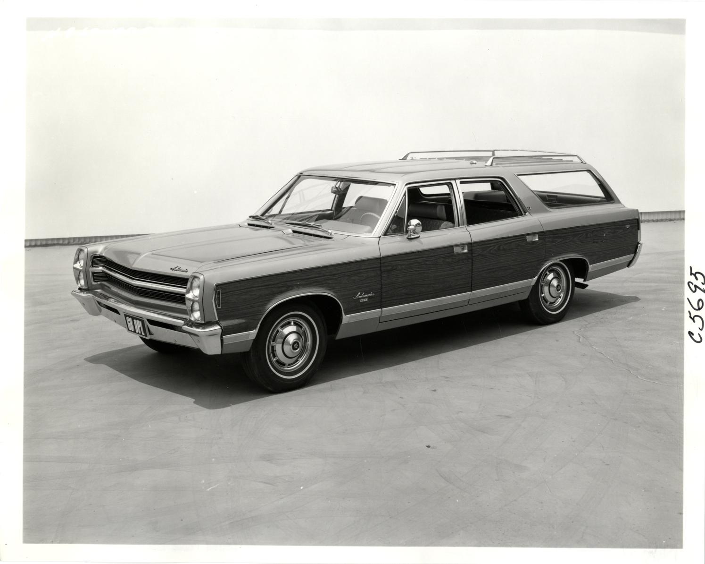 Ambassador wagon front three-quarter black white