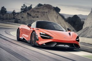 McLaren 765LT front three-quarter action