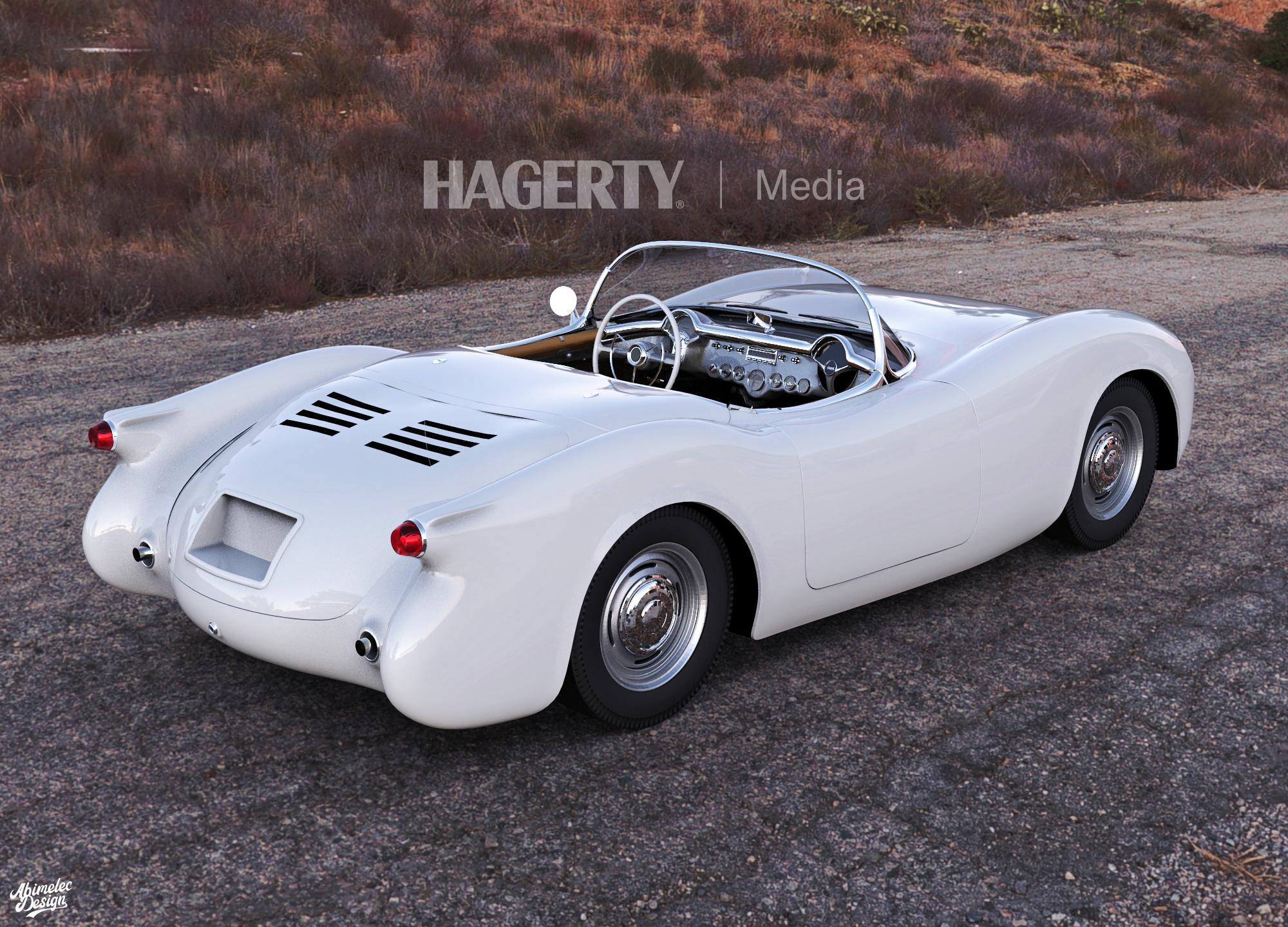 Mid Engine C1 Corvette Rear Three-Quarter White Mock Up