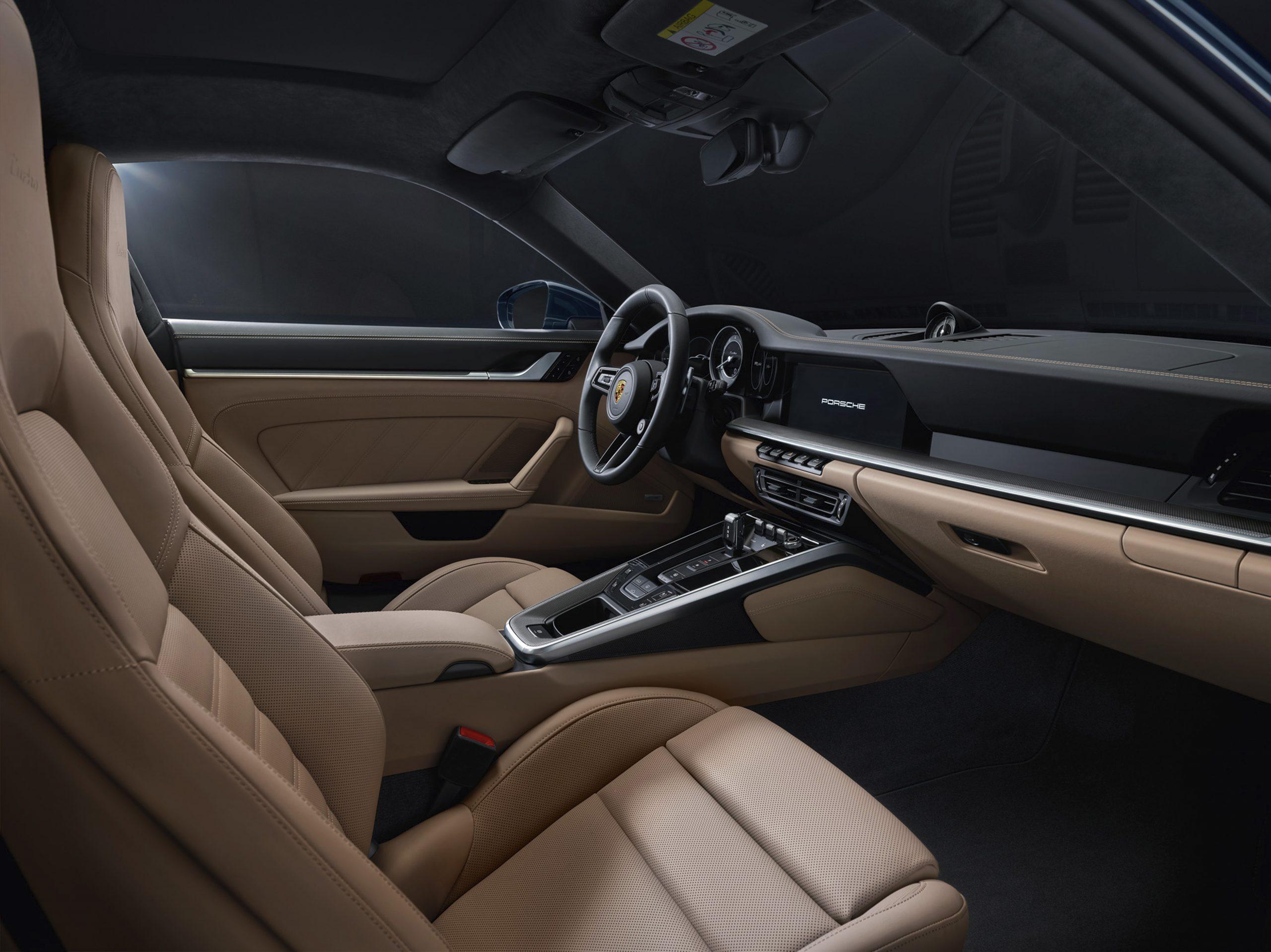 2021 Porsche 911 Turbo interior front angle