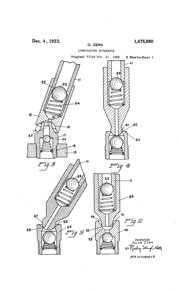 Zerk 1922 Patent drawing