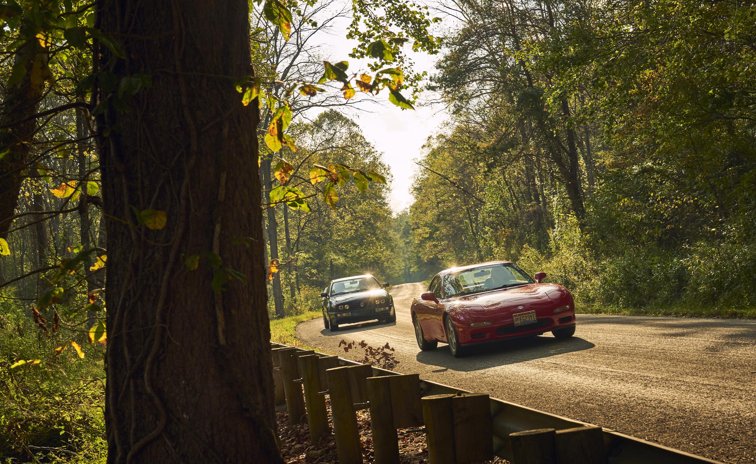 Mazda RX-7 with Volkswagen Corrado dynamic road action fronts