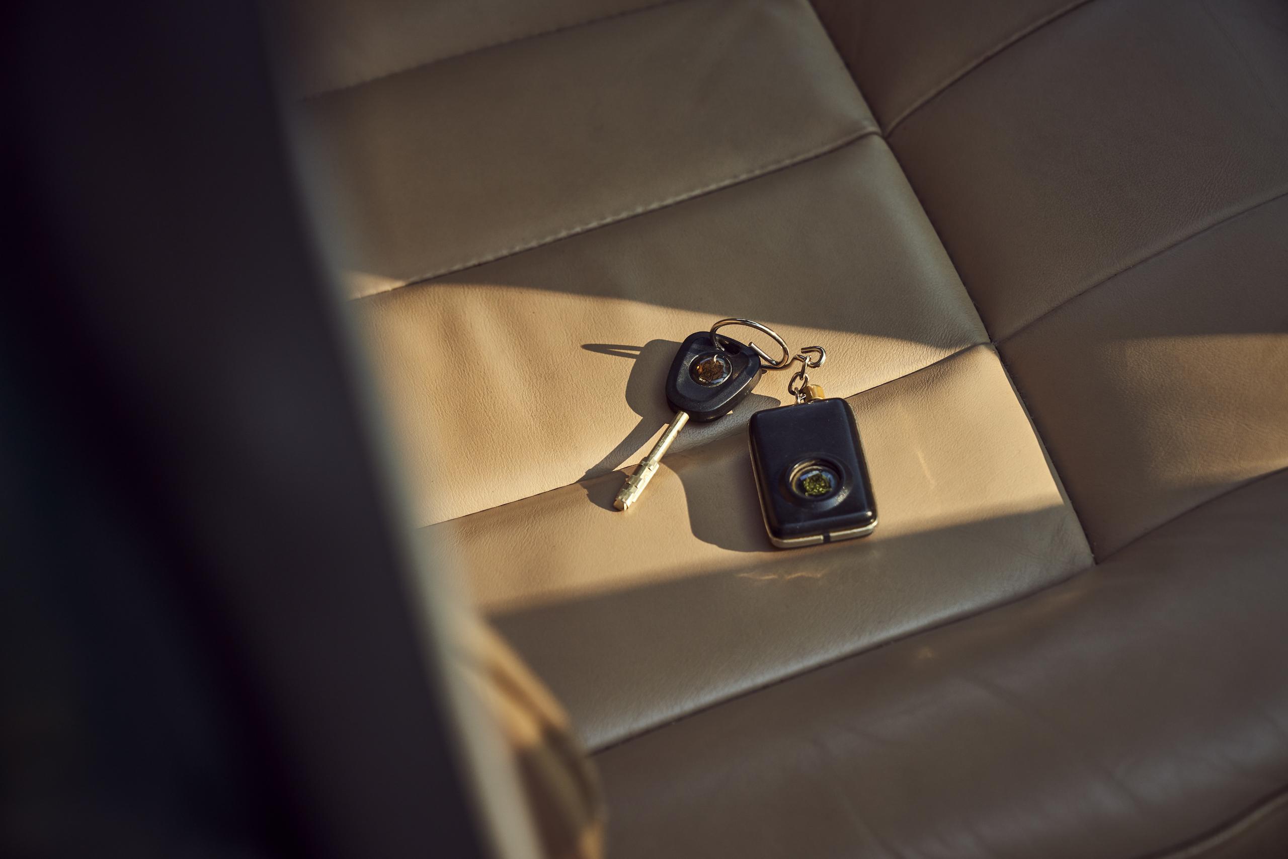 Jaguar XJ6 keys on leather seat