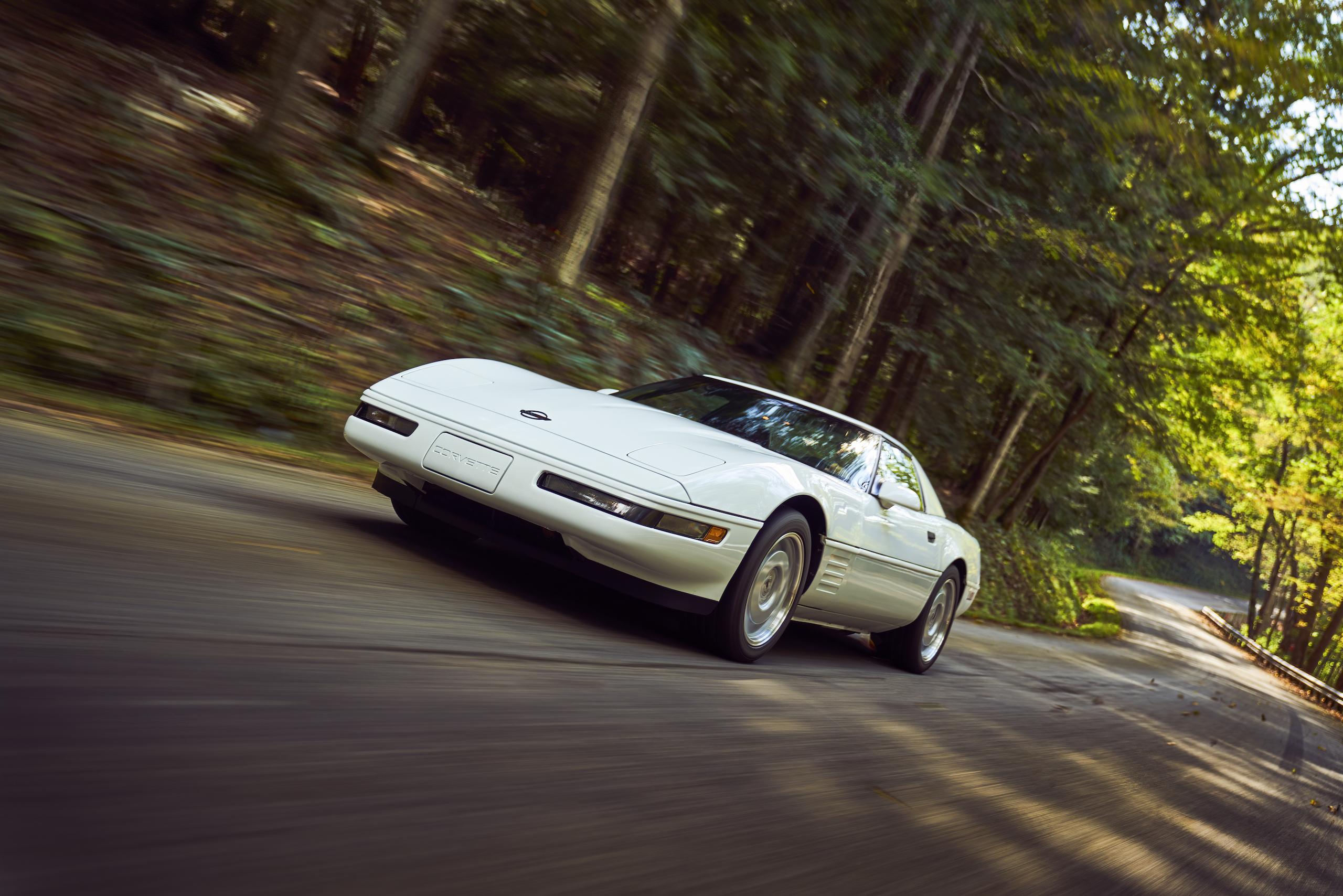 C4 Chevrolet Corvette front three-quarter dynamic road action