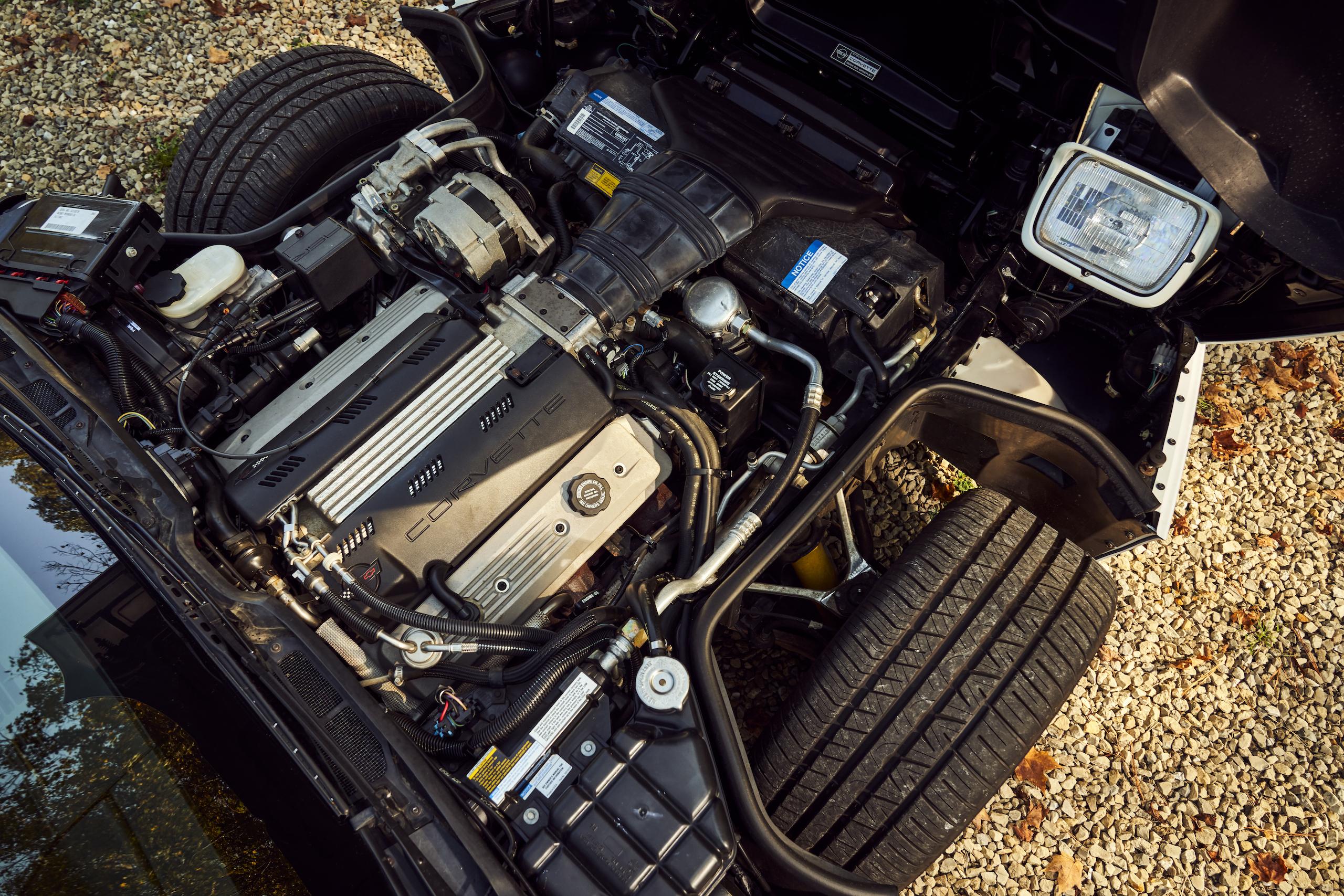 C4 Chevrolet Corvette hood up engine overhead