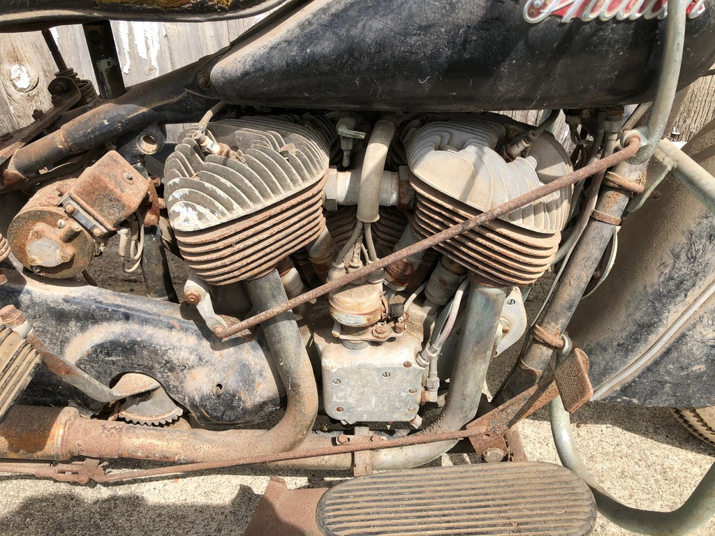 vintage barn find 1948 Indian Chief engine