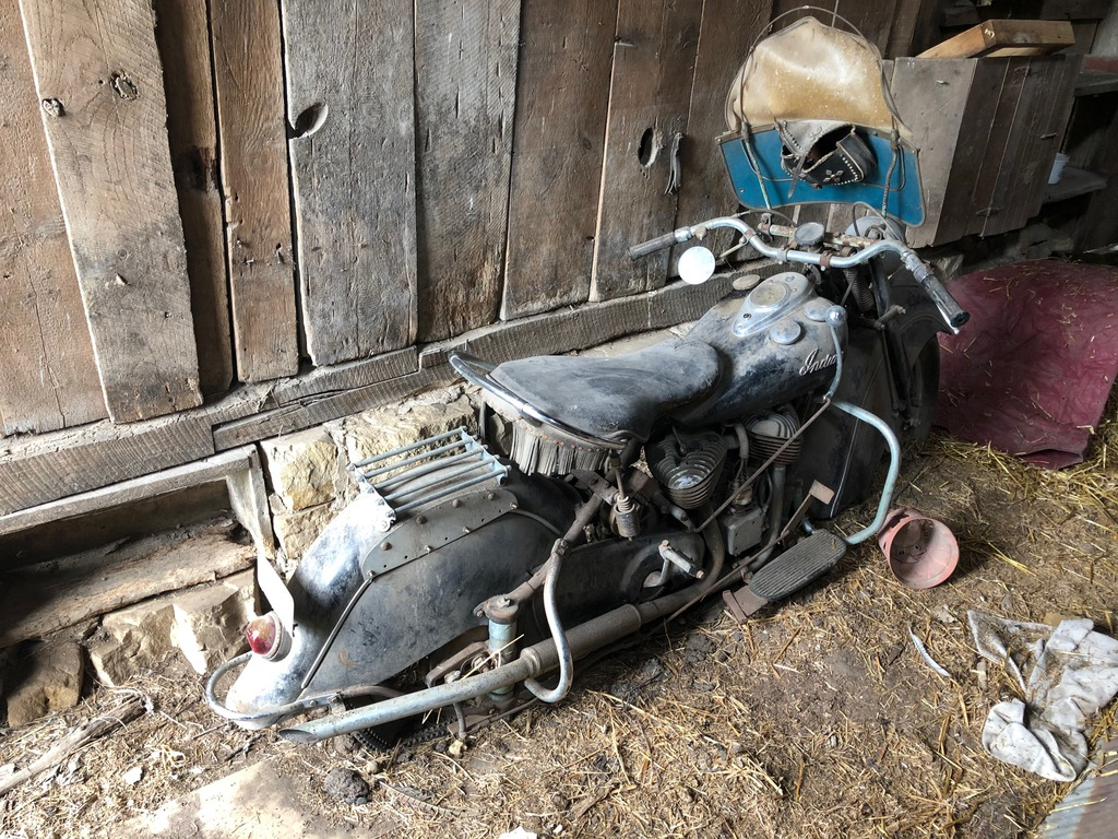 vintage barn find 1948 Indian Chief rear three-quarter