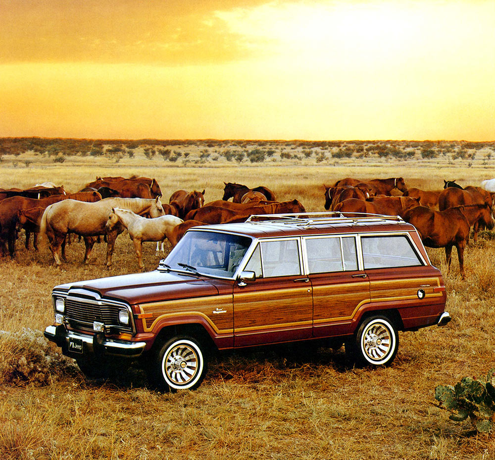 1984 Jeep Grand Wagoneer among broncos front three-quarter art ad