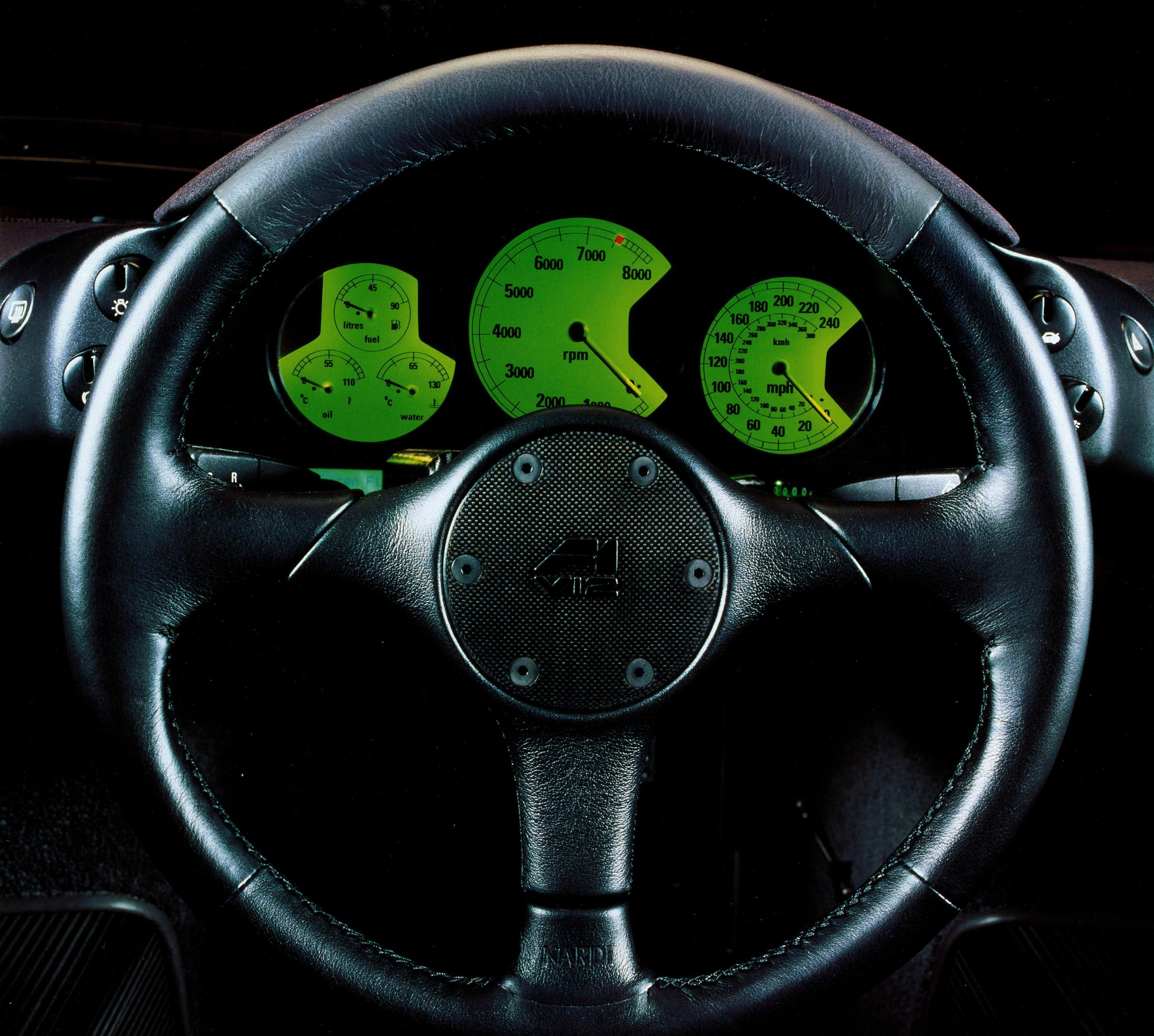 McLaren F1 front steering wheel and gauges
