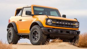 Orange 2021 Ford Bronco two-door front three-quarter
