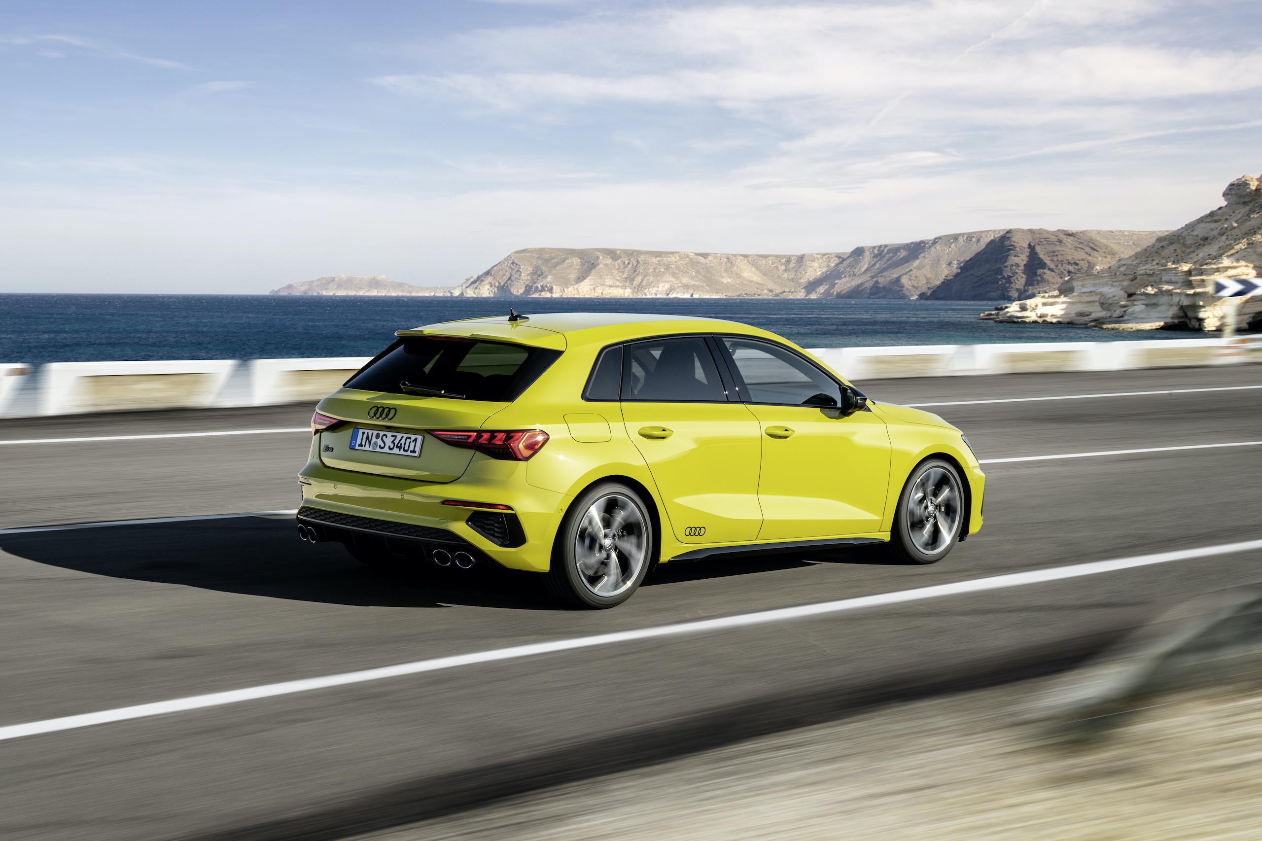 Audi S3 Sportback python yellow rear three-quarter