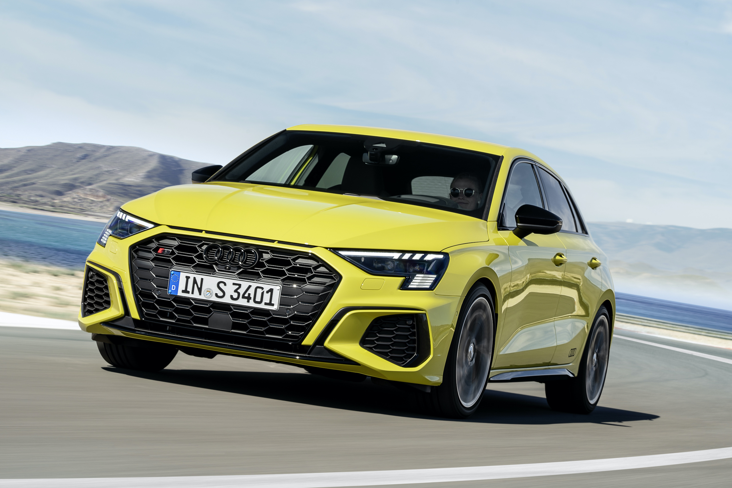 Audi S3 Sportback python yellow front three-quarter action