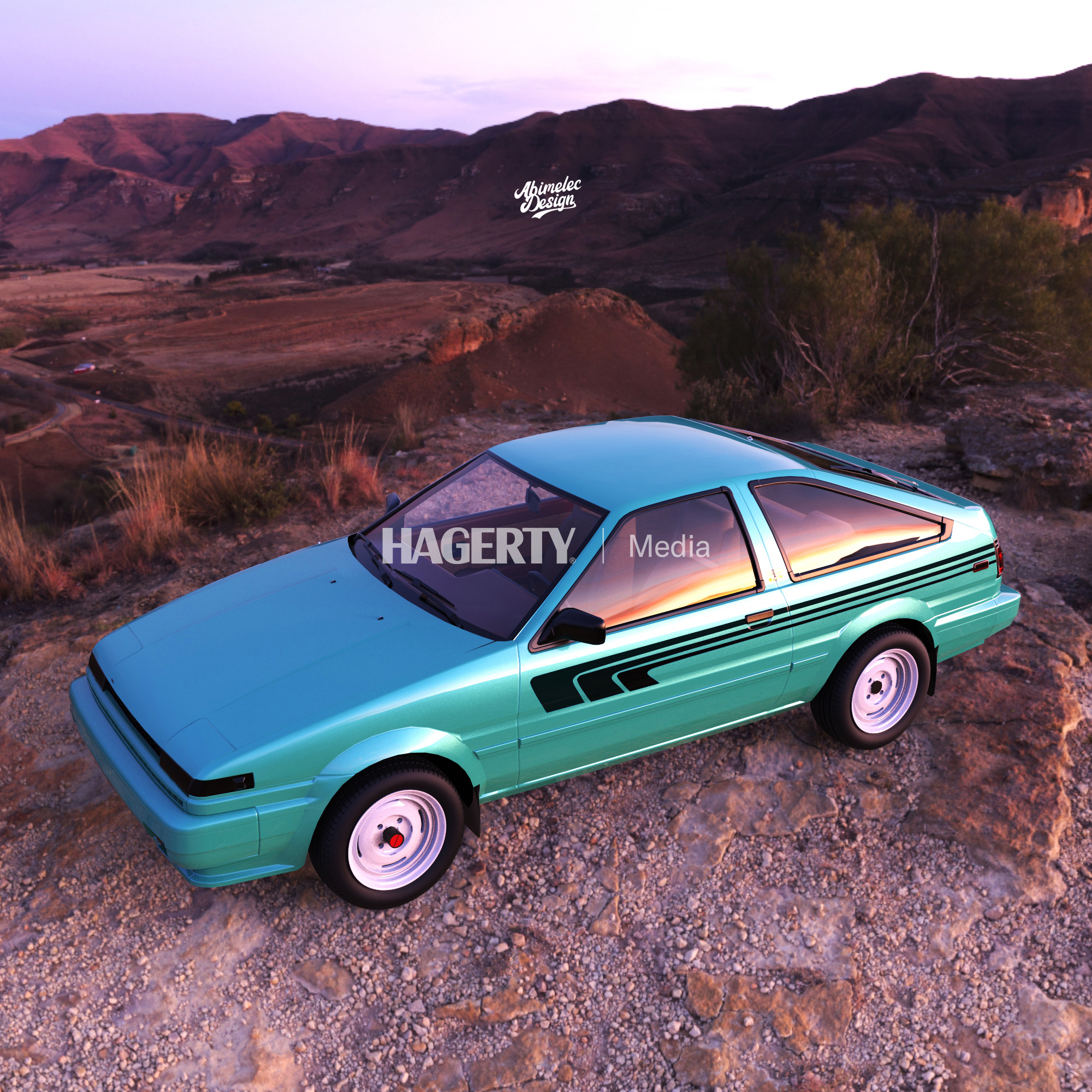 4x4 teal Corolla render front three-quarter