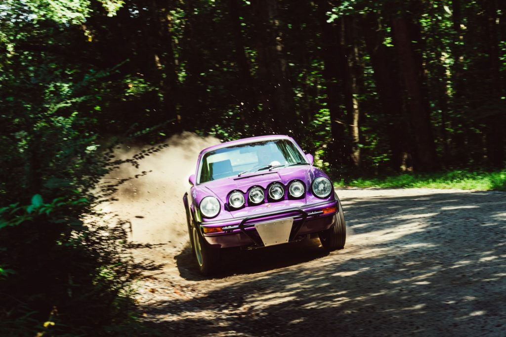 porsche 911 safari car purple front drift dynamic action