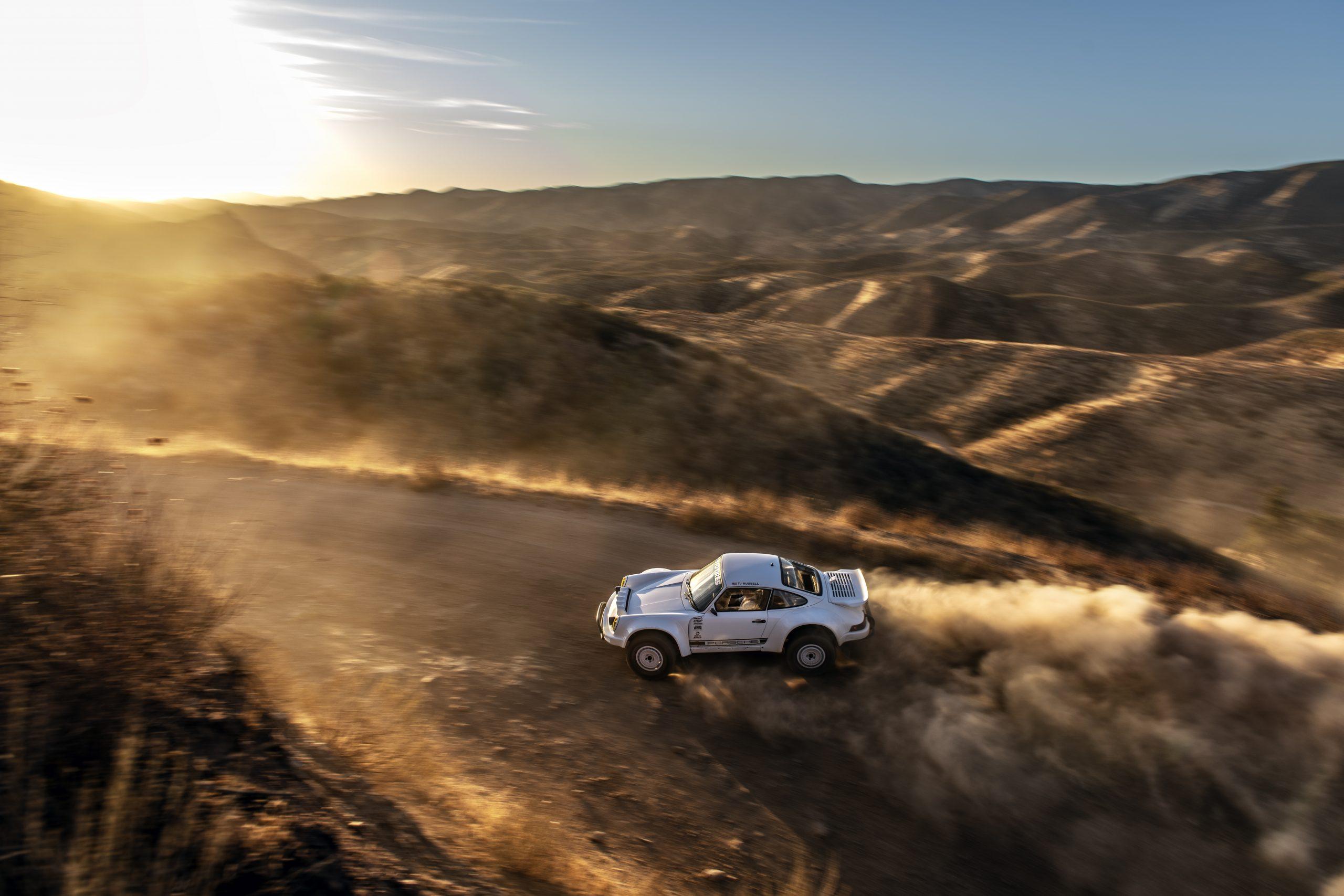 911 Safari story TJ Russell 911 Baja overhead dynamic dirt road action