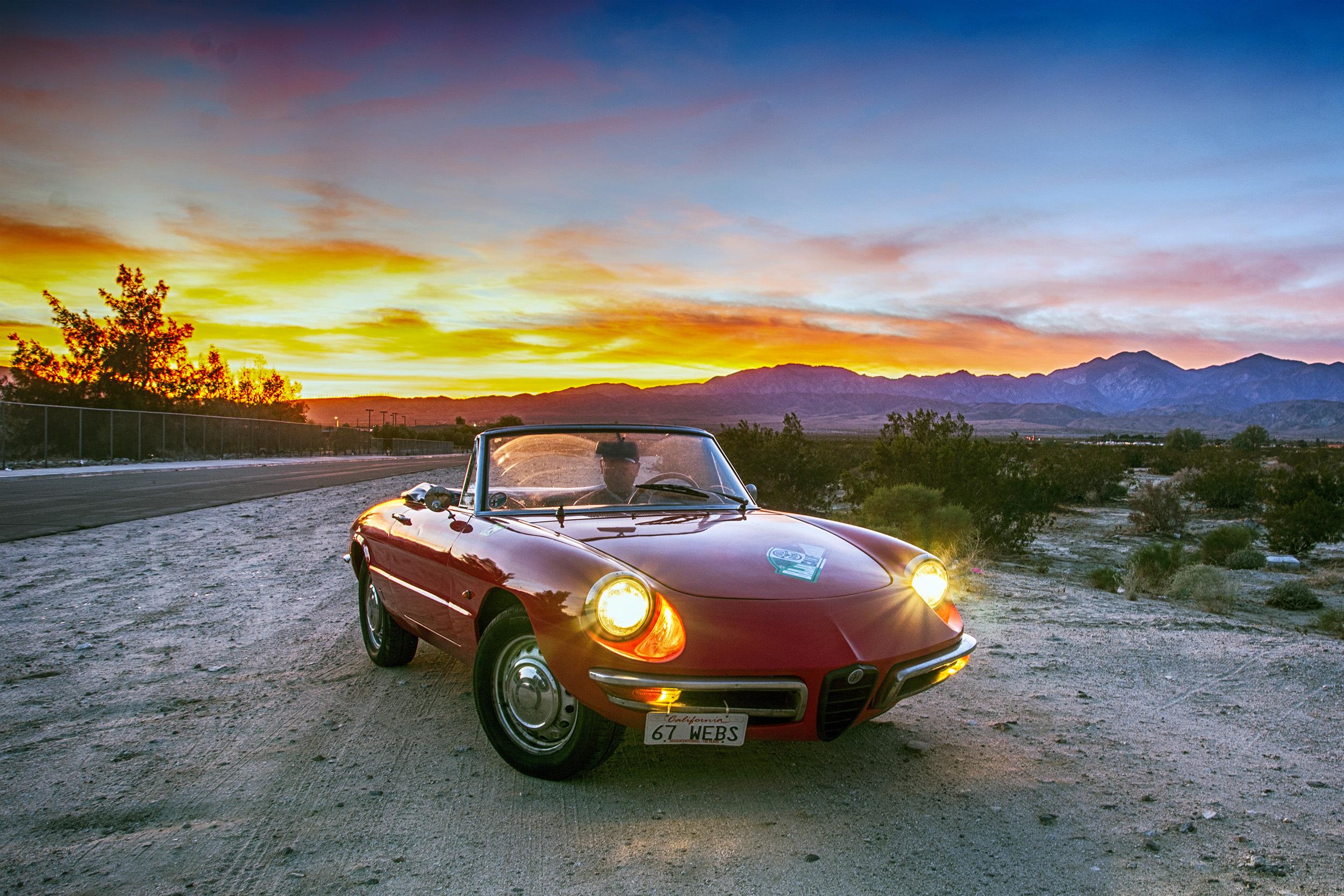 vintage 1967 alfa romeo duetto front three-quarter sunset