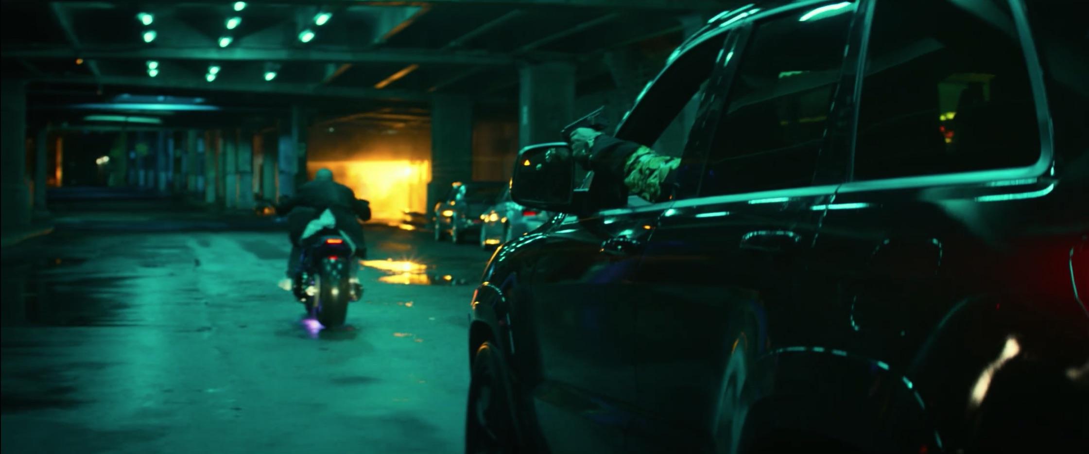 Bad Boys For Life suv uzi chasing motorcycle rider