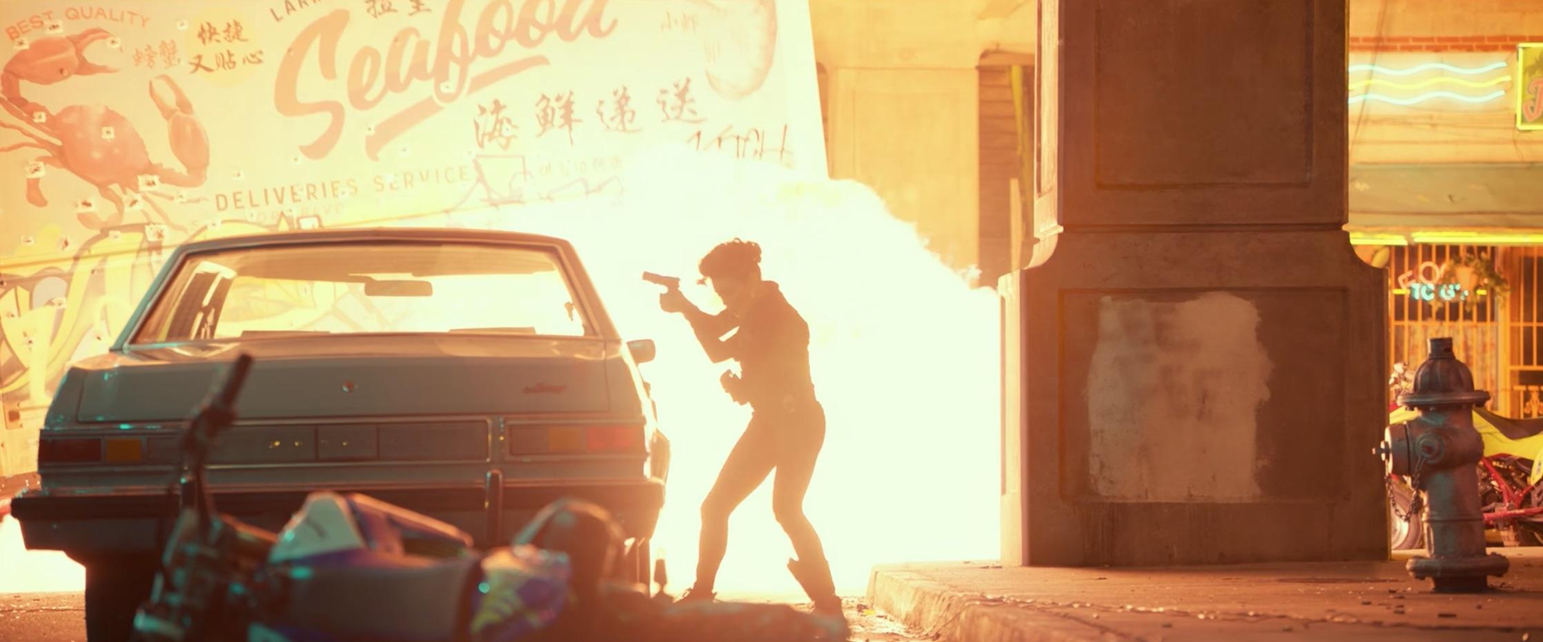 Bad Boys For Life gunman reloading near flame
