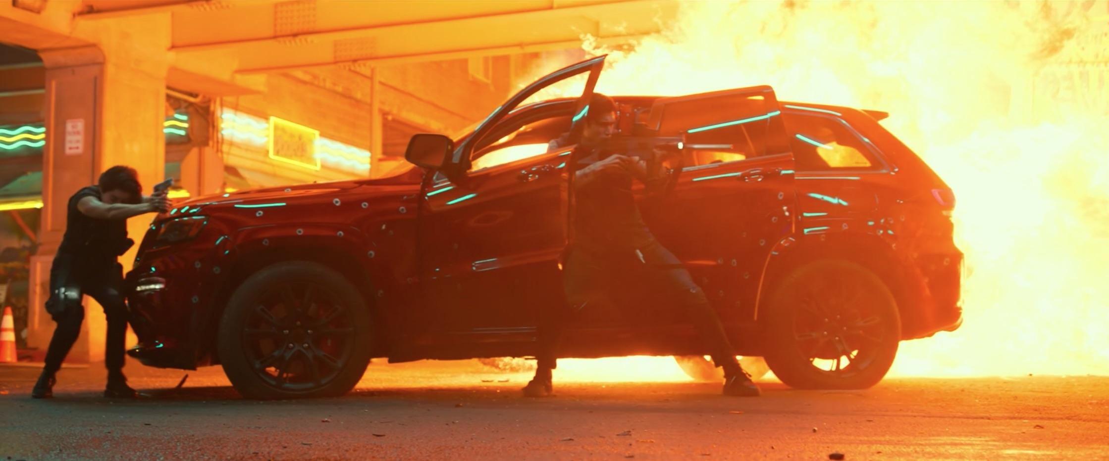 Bad Boys For Life gunman and jeep trackhawk near explosion