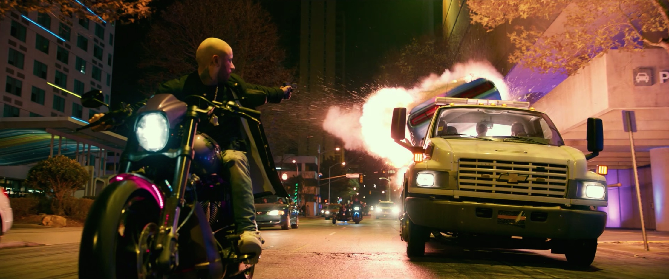 Bad Boys For Life motorcycle rider shooting exploding muscle car