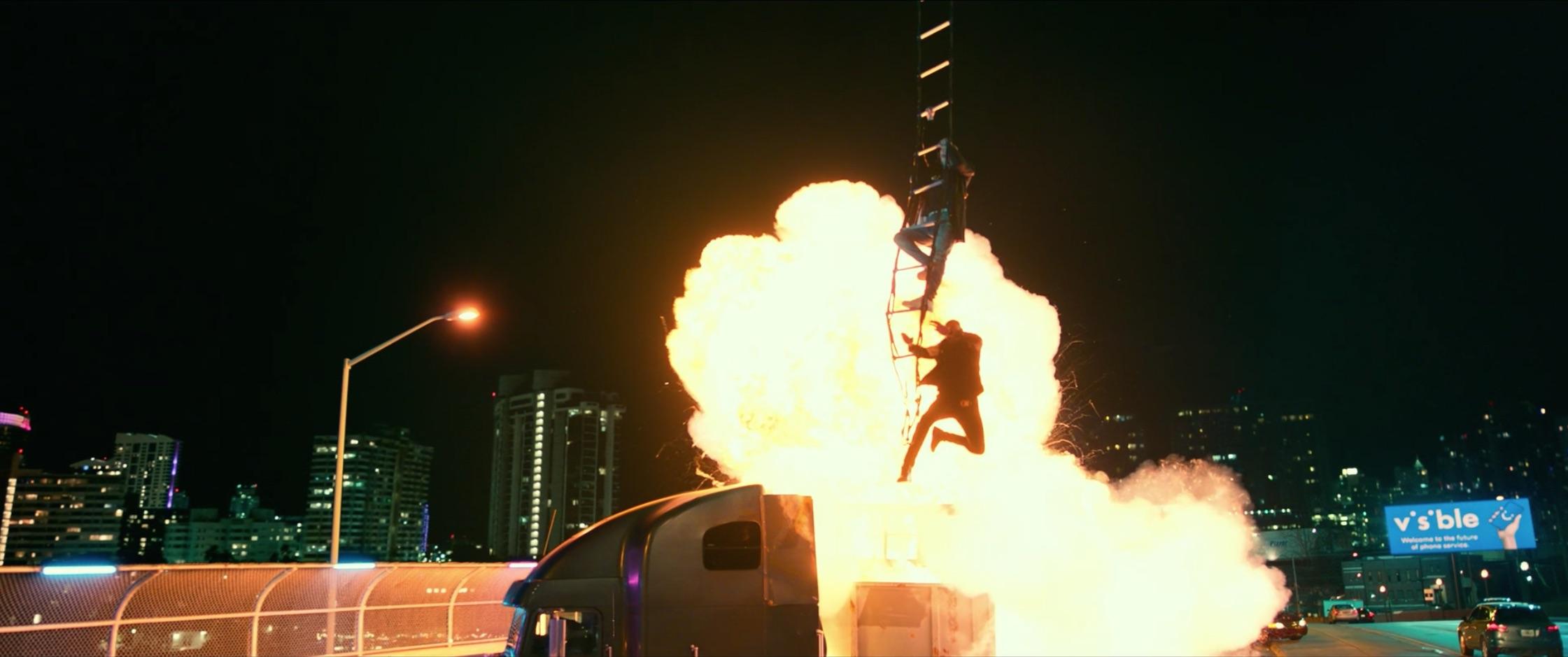 Bad Boys For Life semi truck explosion escape