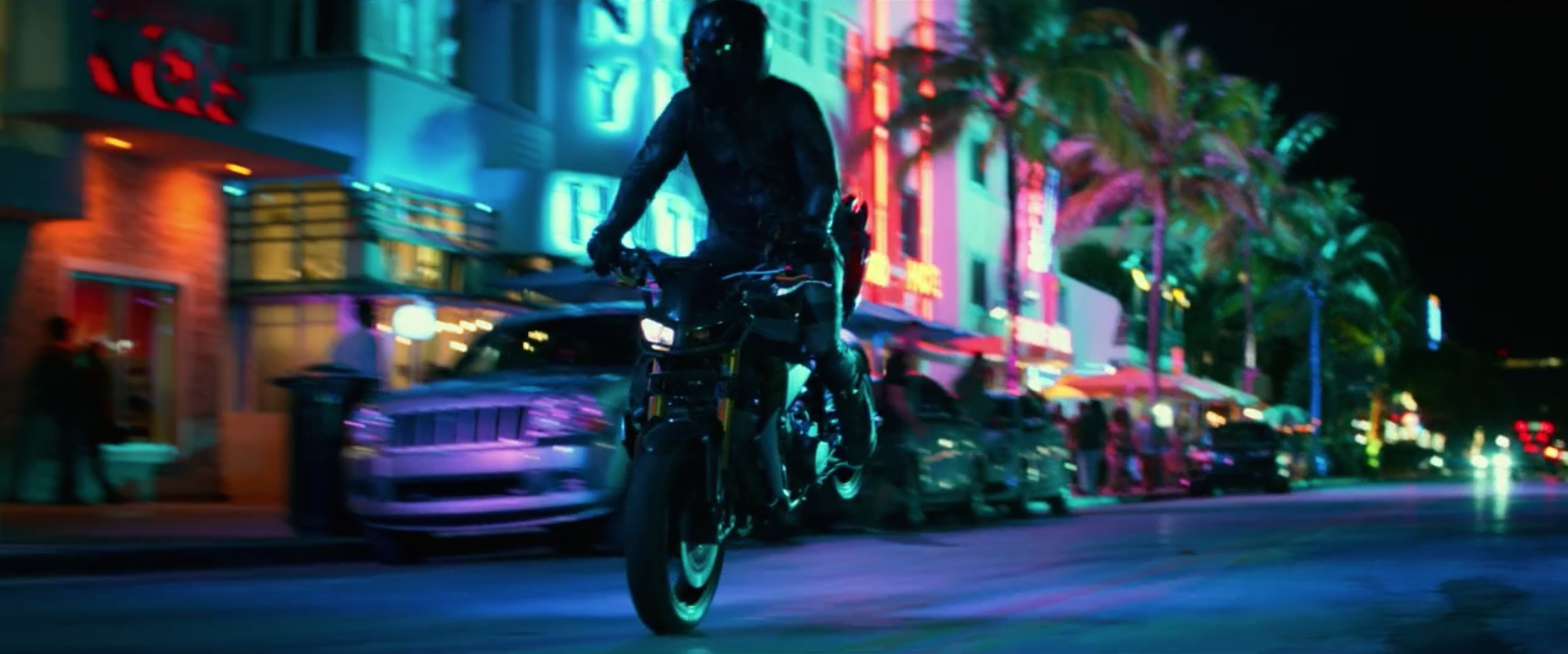 Bad Boys For Life motorcycle rider front wheel slide south beach