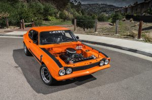 1974 Mk I Ford Capri restomod front three-quarter open engine bay