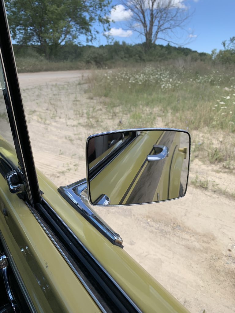 Boss Bronco driving rear view mirror reflection
