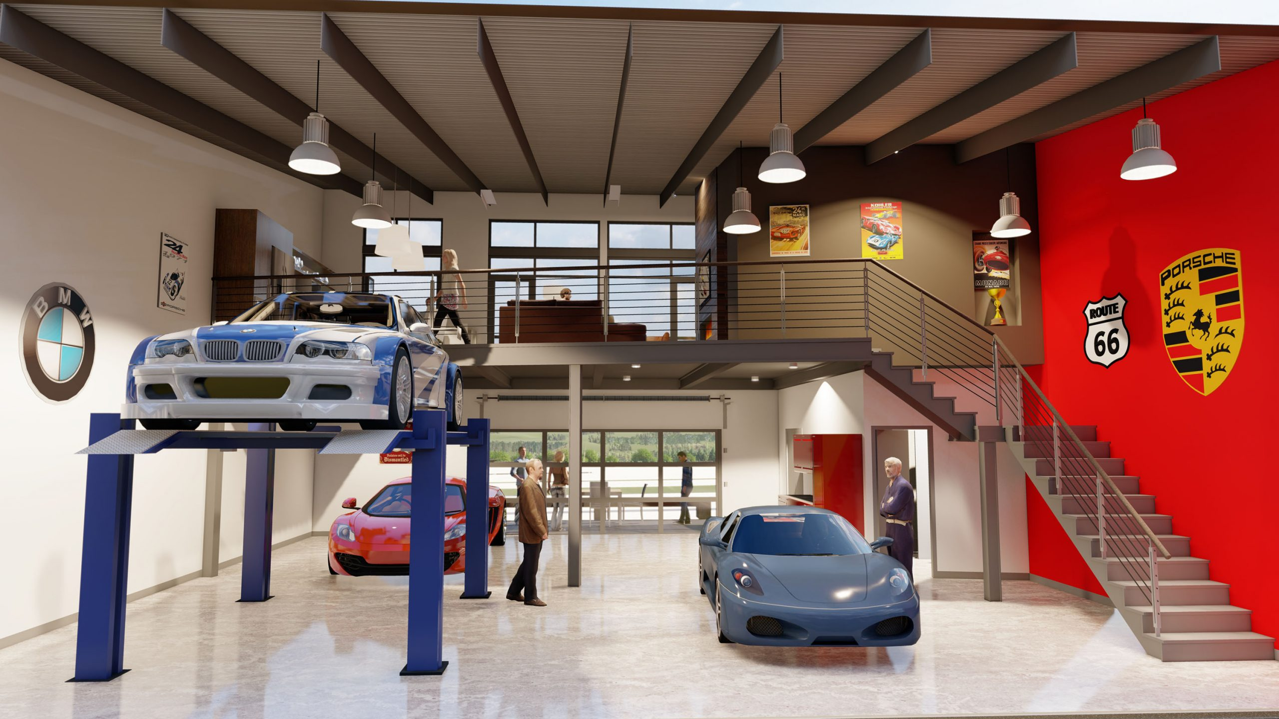 Autominiums condo rendering interior cars and people