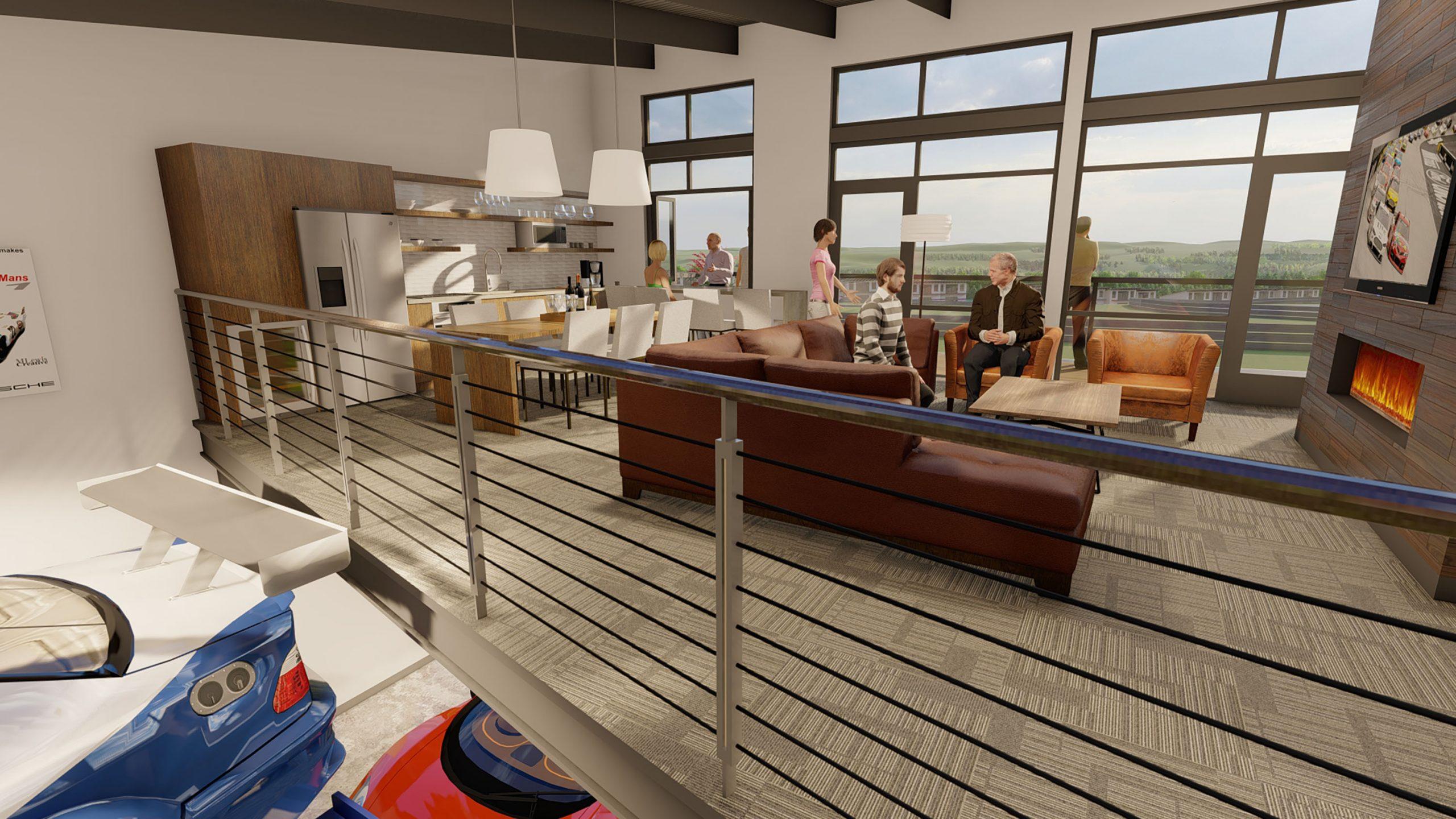 Autominiums condo rendering interior lounge bar area